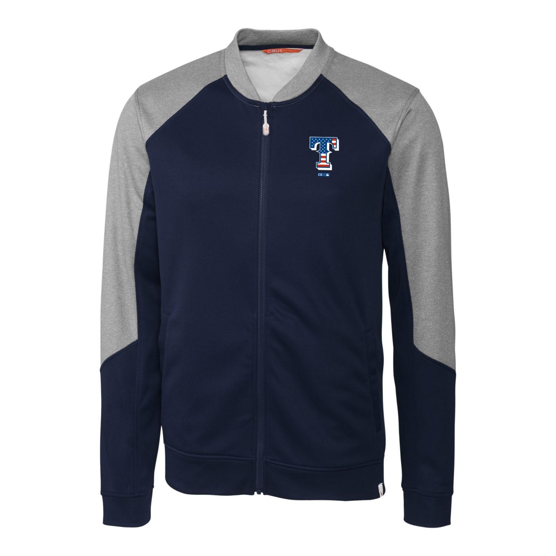Texas Rangers Cutter & Buck Stars & Stripes Pop Fly Full-Zip Jacket - Navy