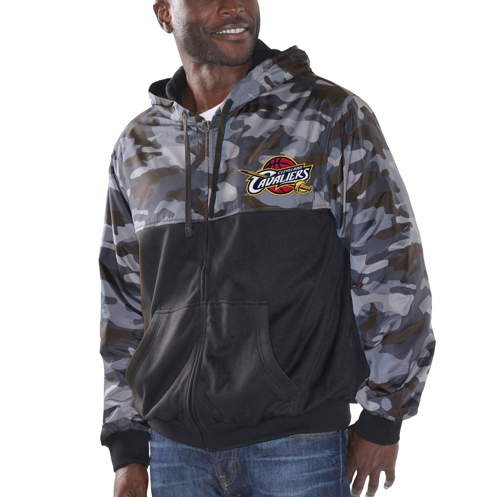 Cleveland Cavaliers G-III Sports by Carl Banks Crossover Lightweight Full Zip Jacket - Black/Camo