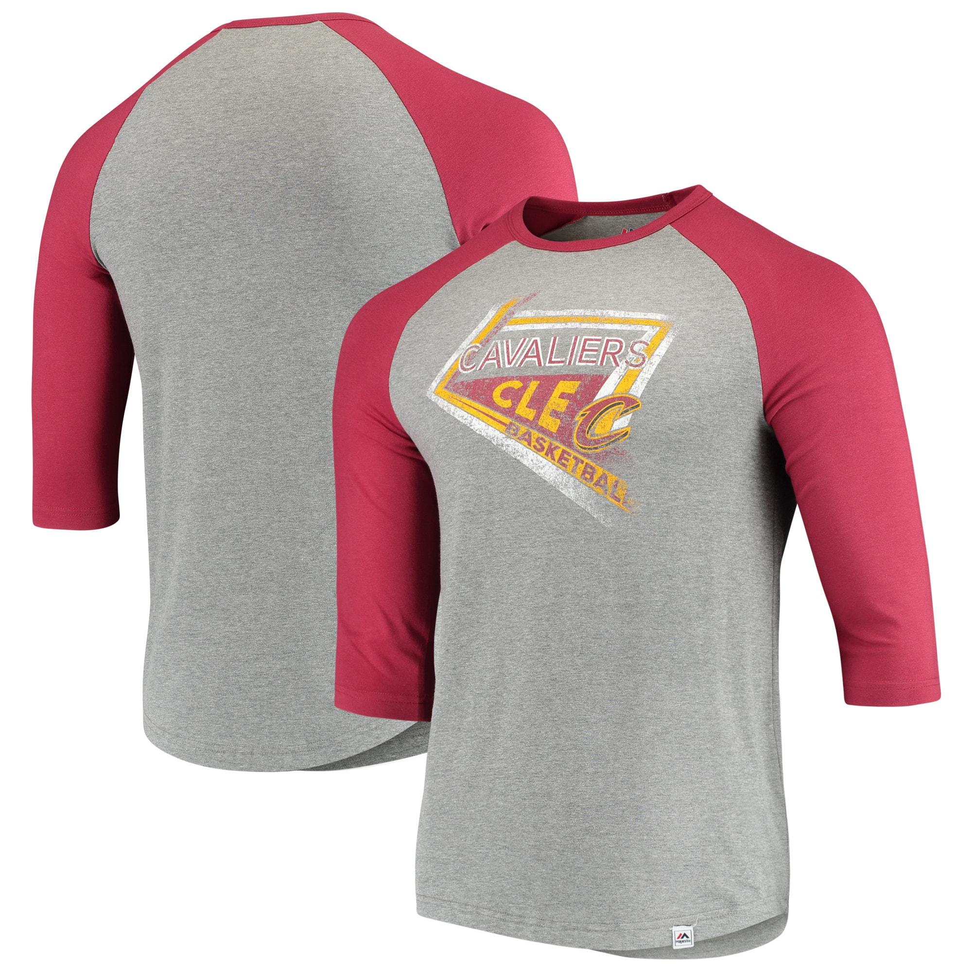 Cleveland Cavaliers Majestic Scoring Position Tri-Blend 3/4-Sleeve Raglan T-Shirt - Heathered Gray/Wine