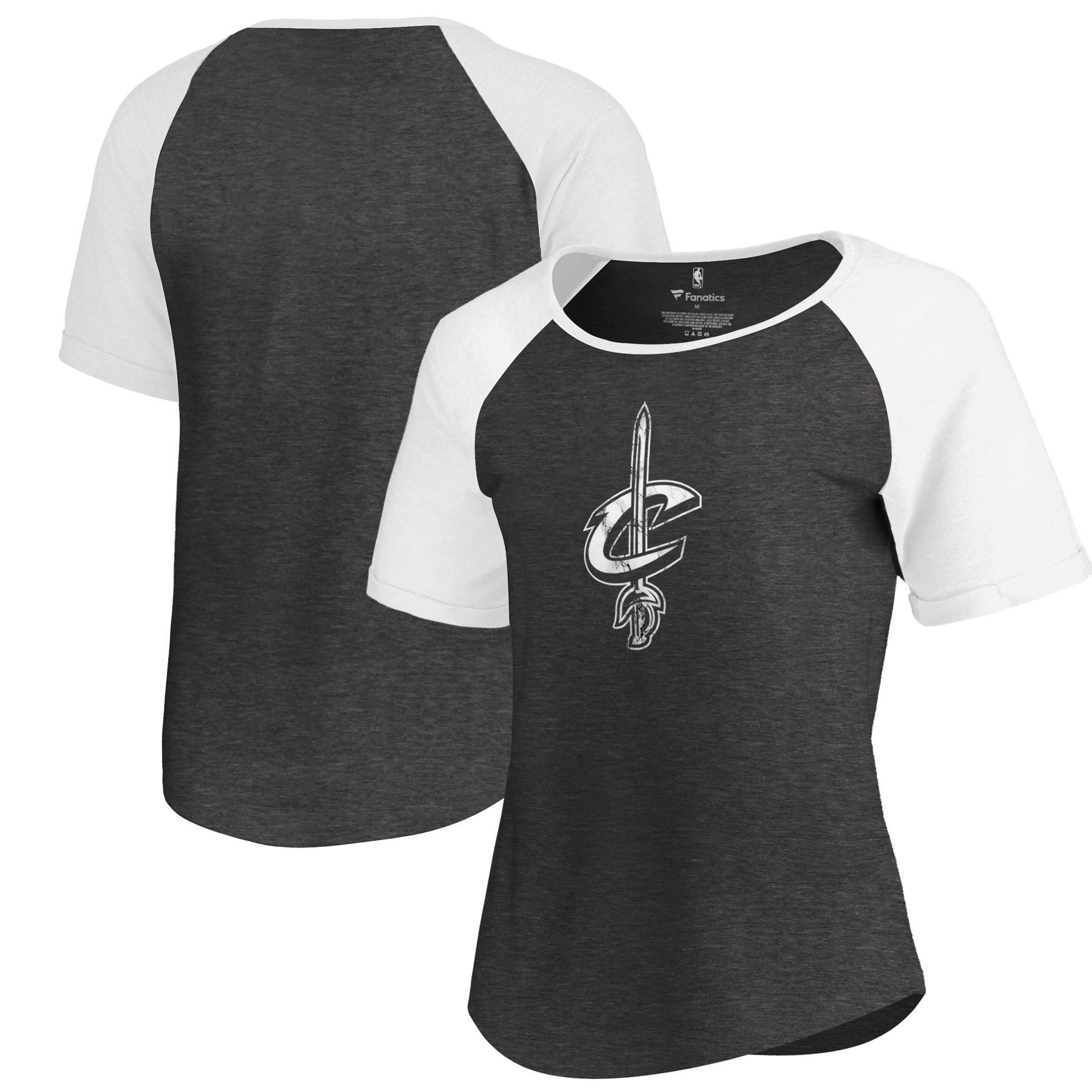 Cleveland Cavaliers Fanatics Branded Women's Marble Logo Raglan T-Shirt - Black