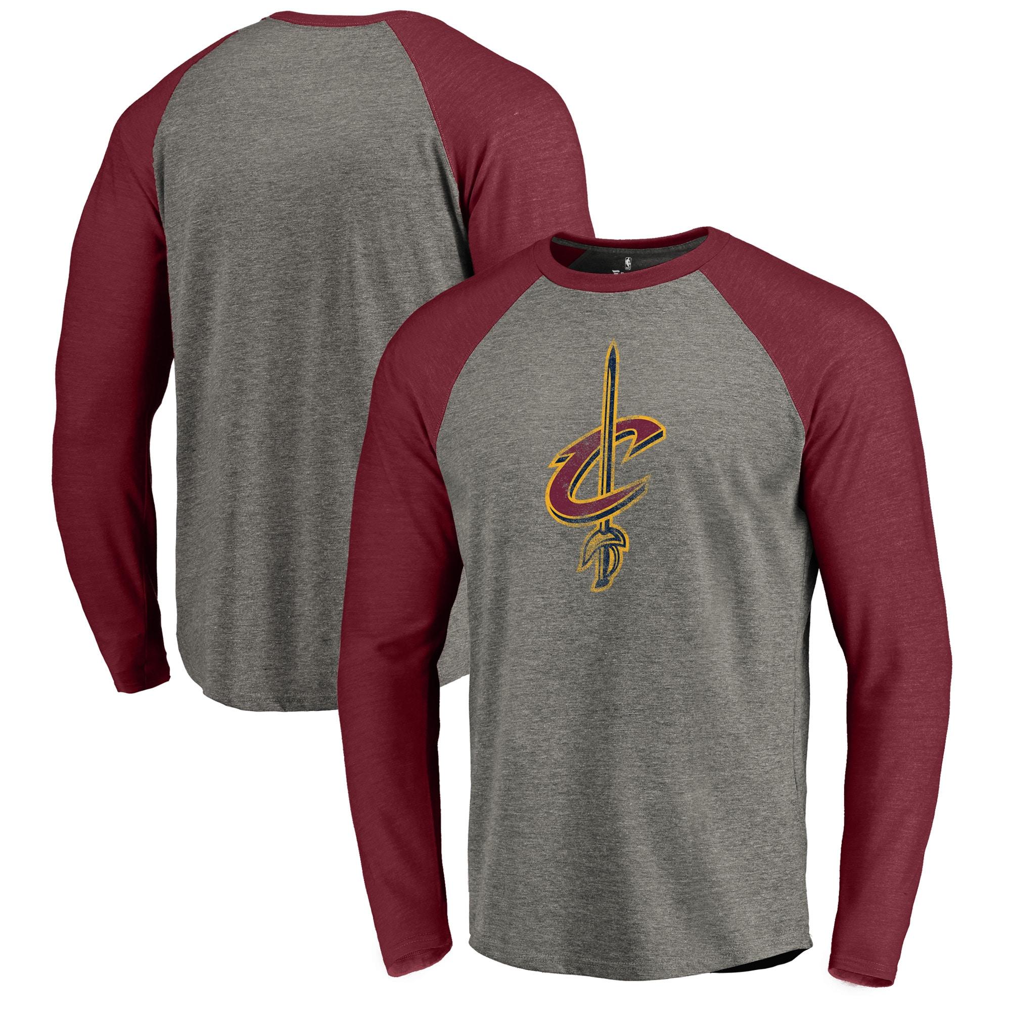 Cleveland Cavaliers Fanatics Branded Distressed Logo Tri-Blend Raglan Long Sleeve T-Shirt - Ash/Wine