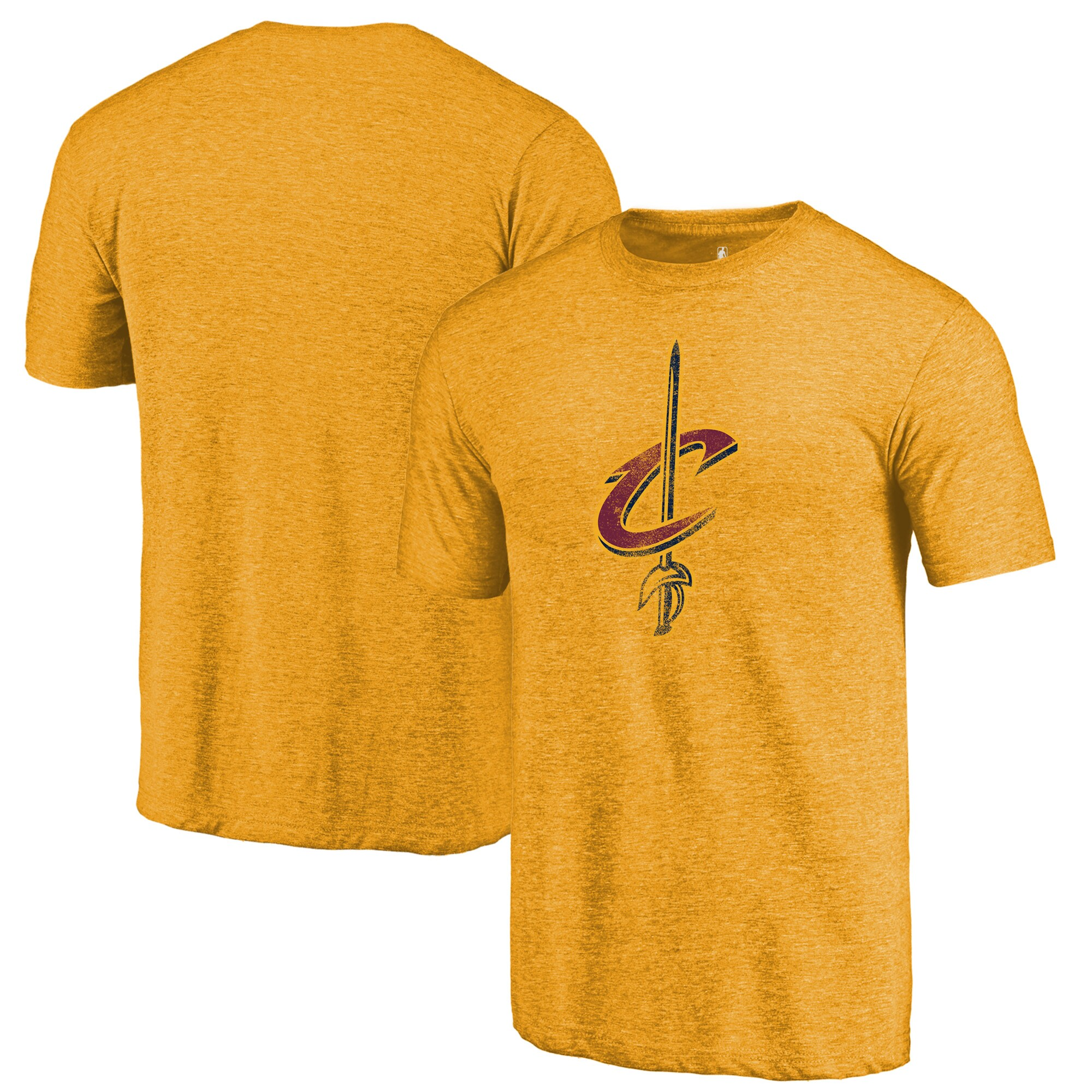 Cleveland Cavaliers Fanatics Branded Distressed Logo Tri-Blend T-Shirt - Gold
