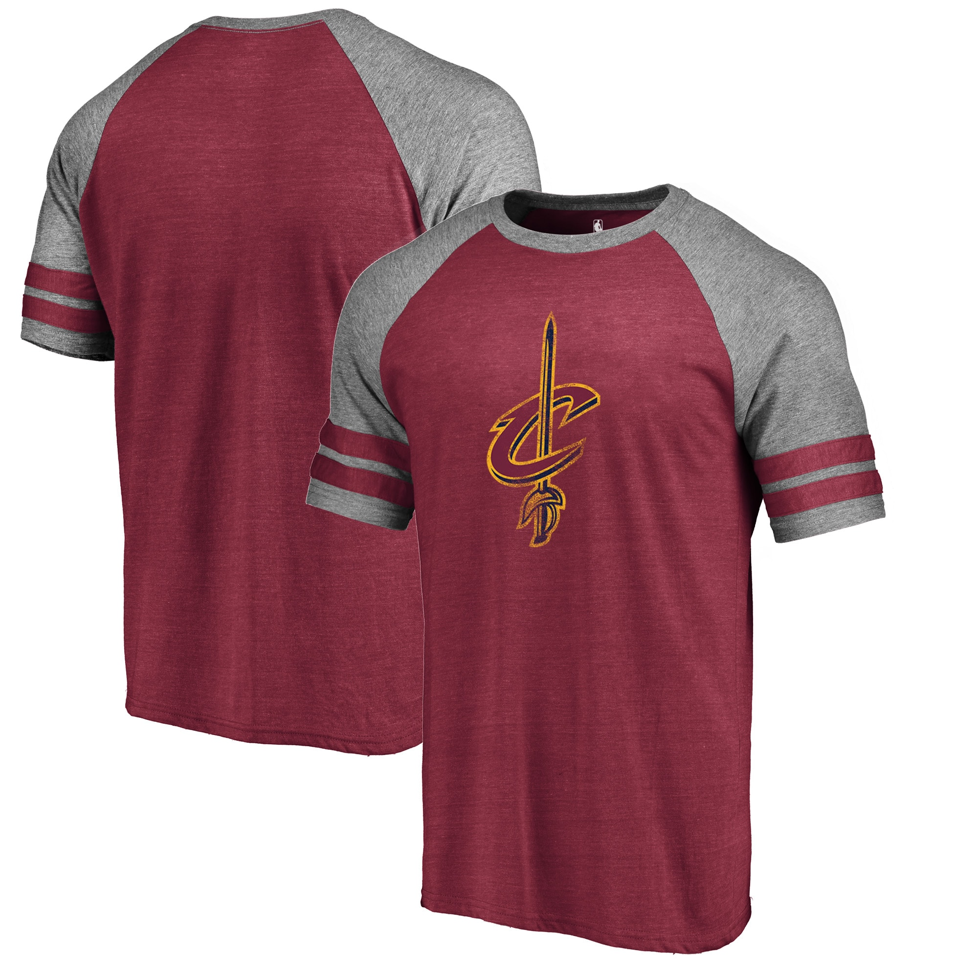 Cleveland Cavaliers Fanatics Branded Distressed Logo Raglan Tri-Blend T-Shirt - Wine