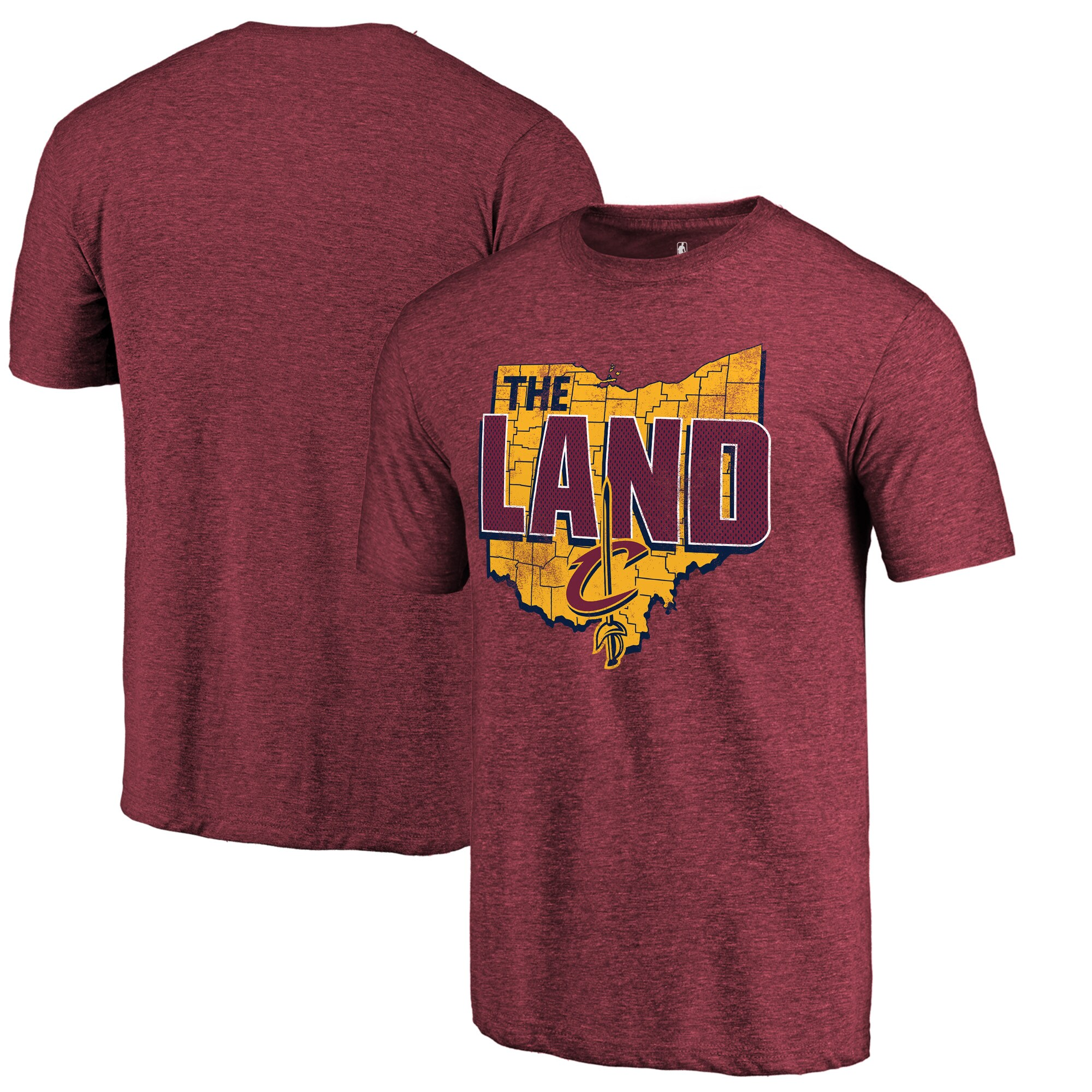 Cleveland Cavaliers Fanatics Branded The Land Hometown Collection Tri-Blend T-Shirt - Wine