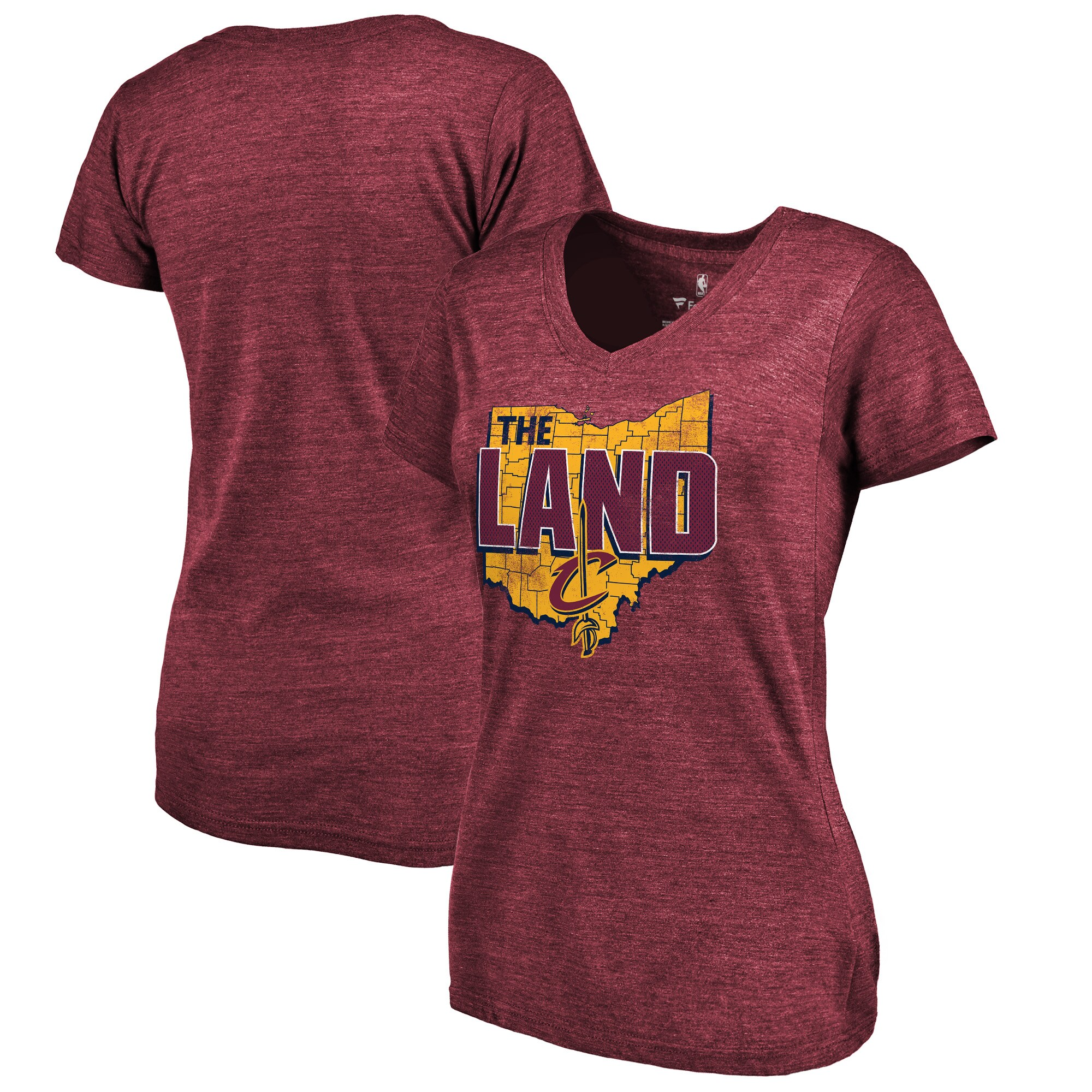 Cleveland Cavaliers Fanatics Branded Women's The Land Hometown Collection Tri-Blend T-Shirt - Wine