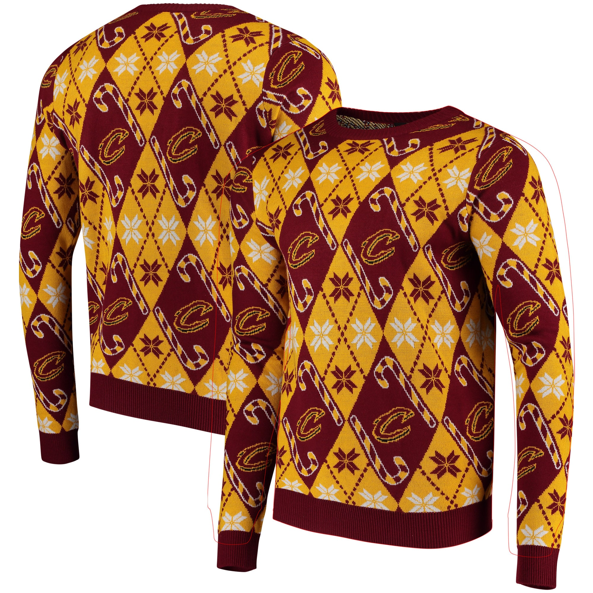 Cleveland Cavaliers Candy Cane Repeat Sweater - Wine