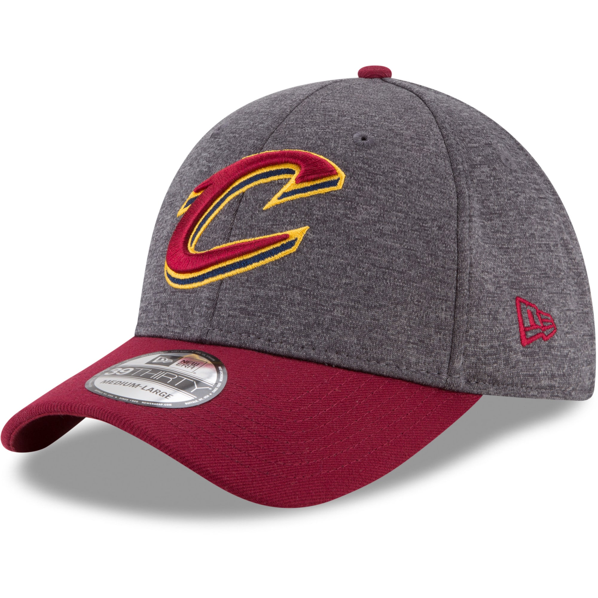 Cleveland Cavaliers New Era 39THIRTY Flex Hat - Heathered Gray/Wine
