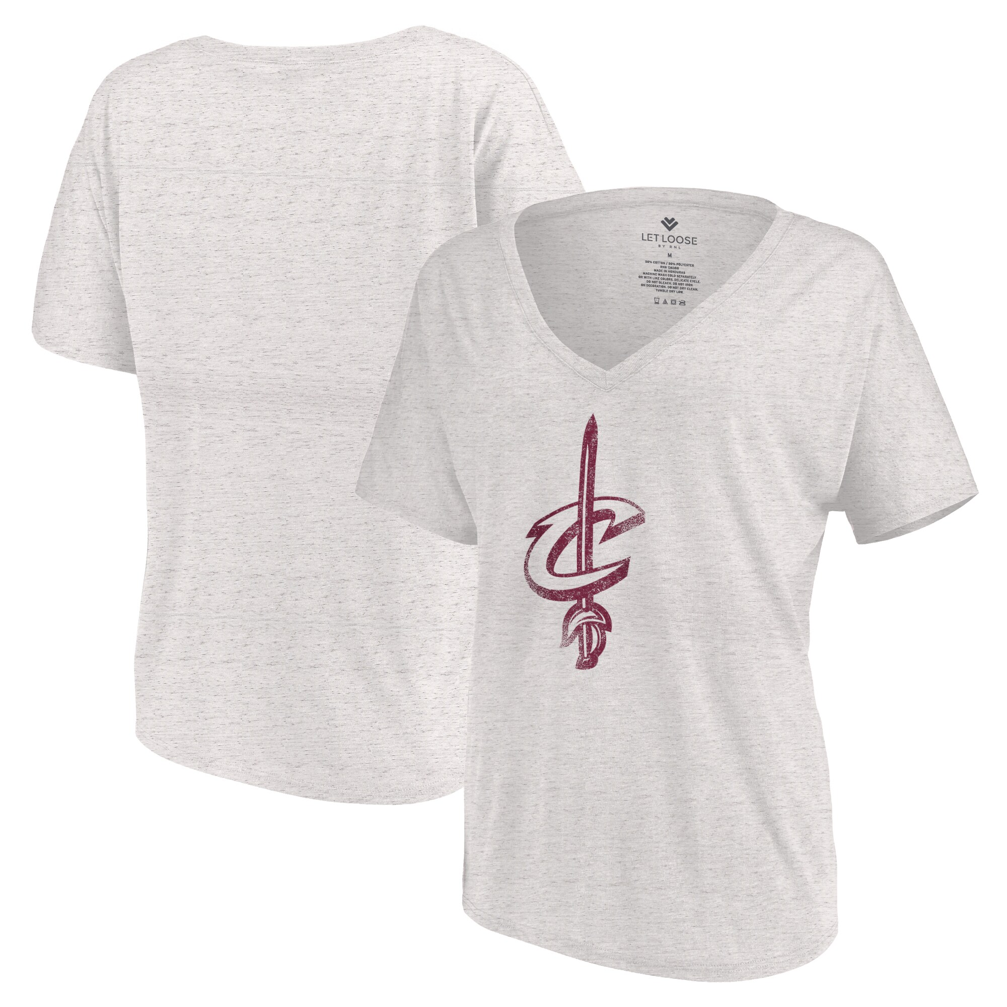 Cleveland Cavaliers Let Loose by RNL Women's Distressed Primary Logo V-Neck T-Shirt - White Marble
