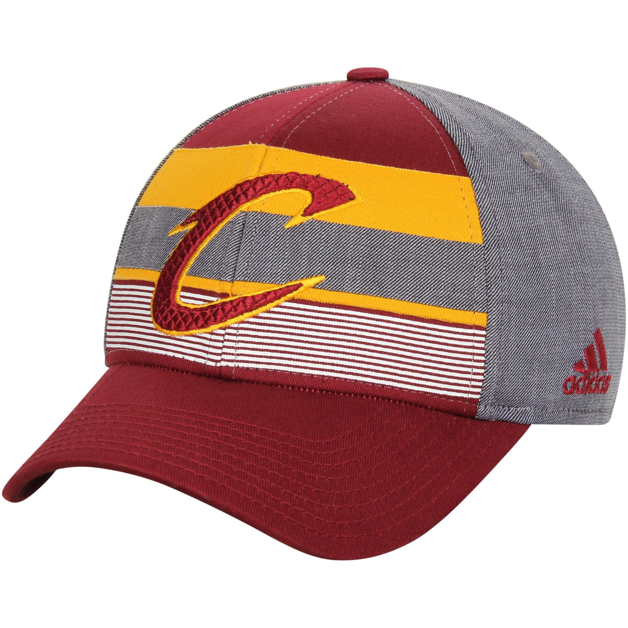 Cleveland Cavaliers adidas Team Logo Striped Flex Hat - Wine/Gray
