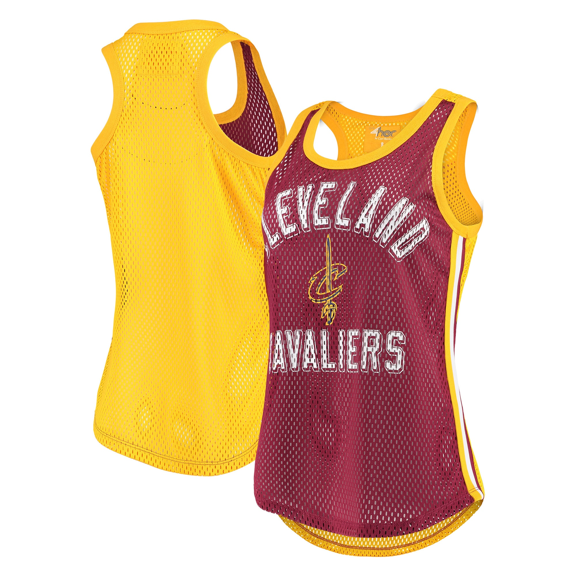 Cleveland Cavaliers G-III 4Her by Carl Banks Women's Comeback Mesh Racerback Tank Top - Wine/Gold