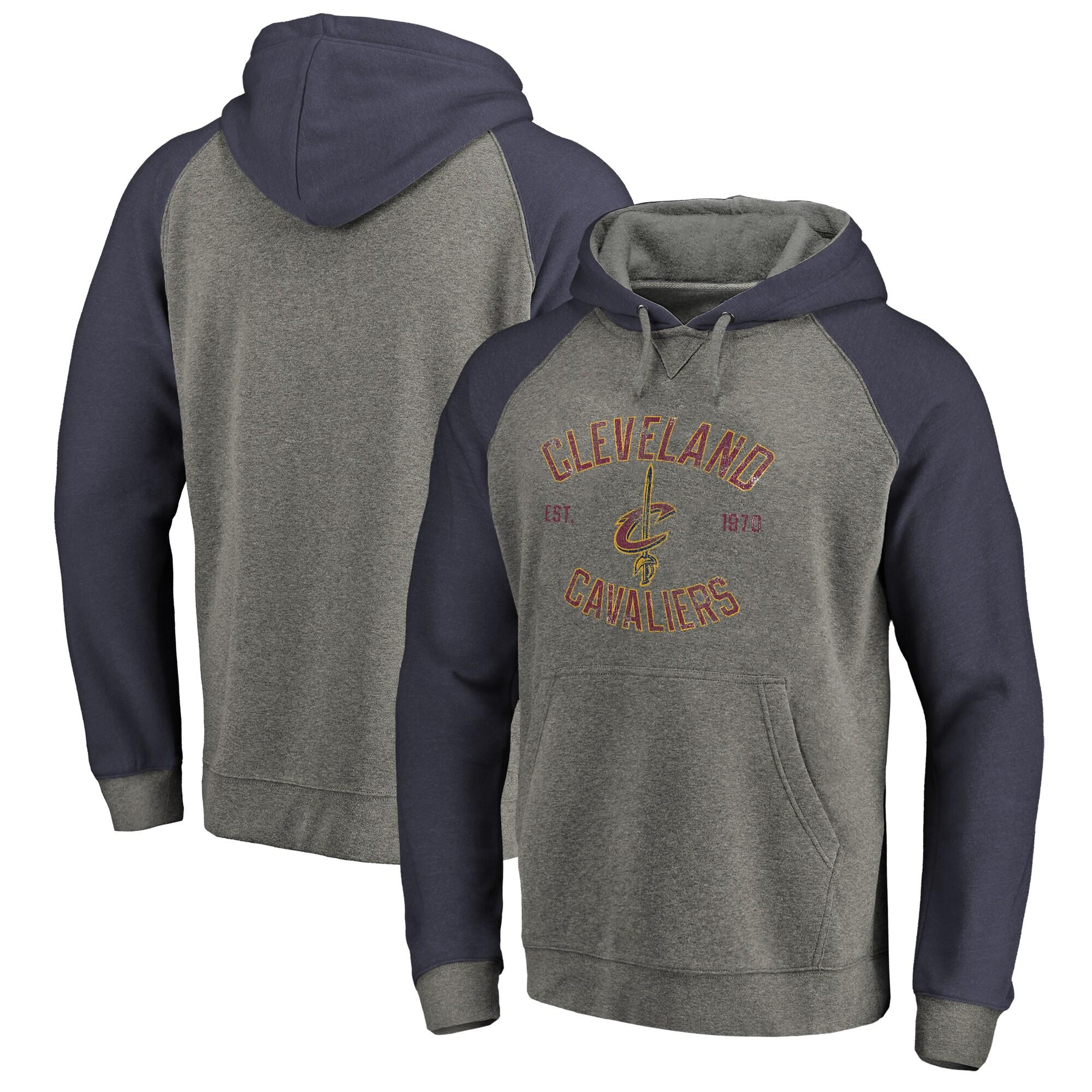 Cleveland Cavaliers Fanatics Branded Heritage Tri-Blend Raglan Pullover Hoodie - Heathered Gray