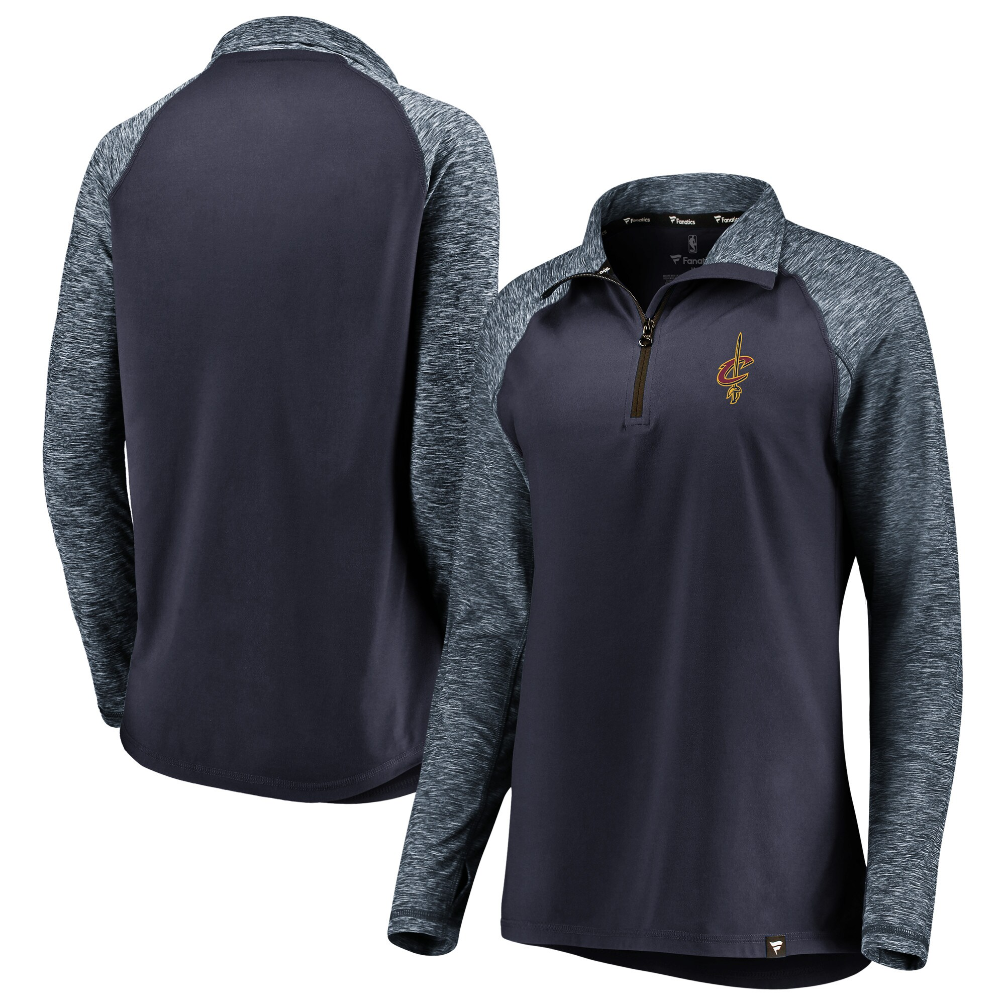 Cleveland Cavaliers Fanatics Branded Women's Made to Move Static Performance Raglan Sleeve Quarter-Zip Pullover Jacket - Navy/Heathered Navy