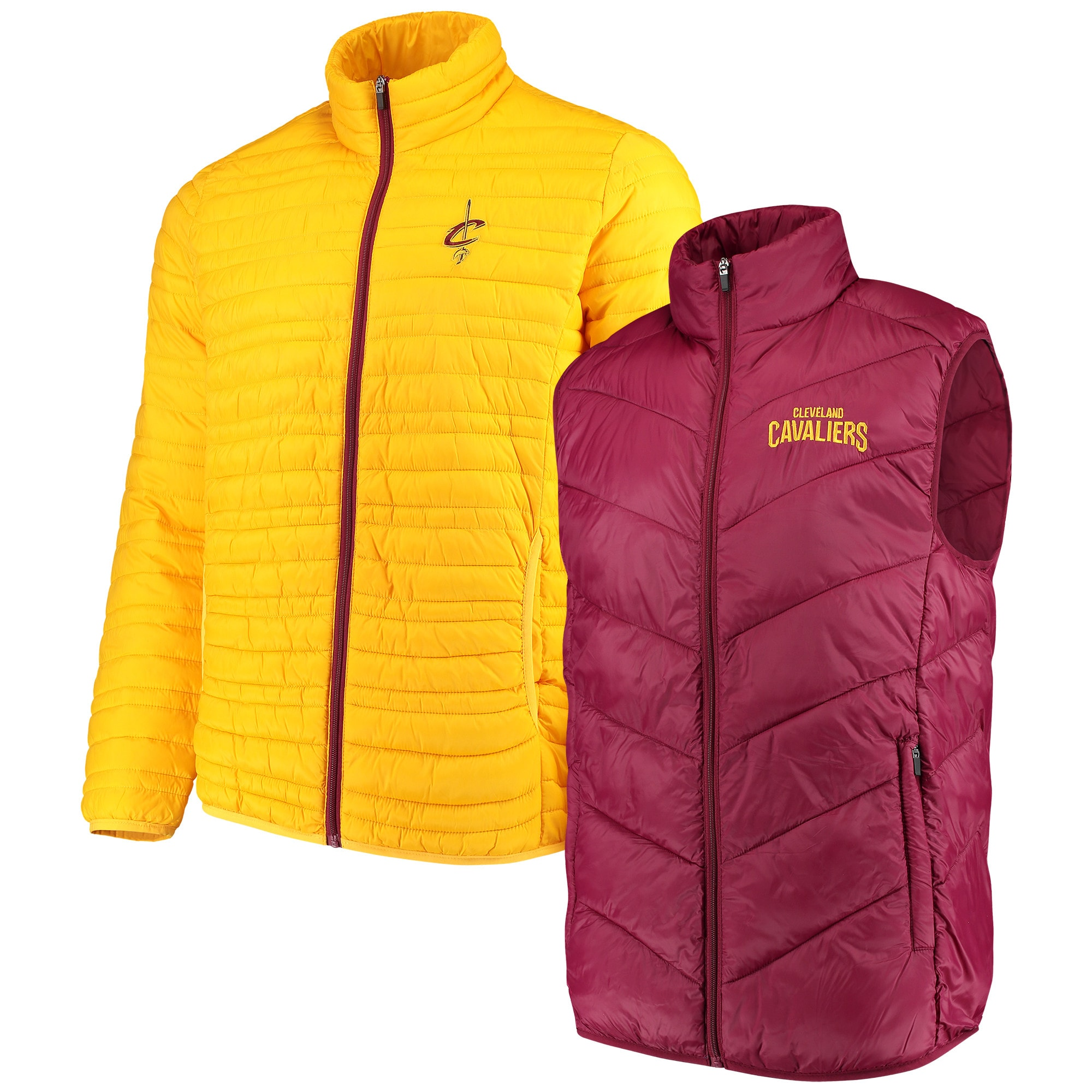 Cleveland Cavaliers G-III Sports by Carl Banks Three & Out 3-in-1 System Full-Zip Vest & Jacket Set - Wine/Gold