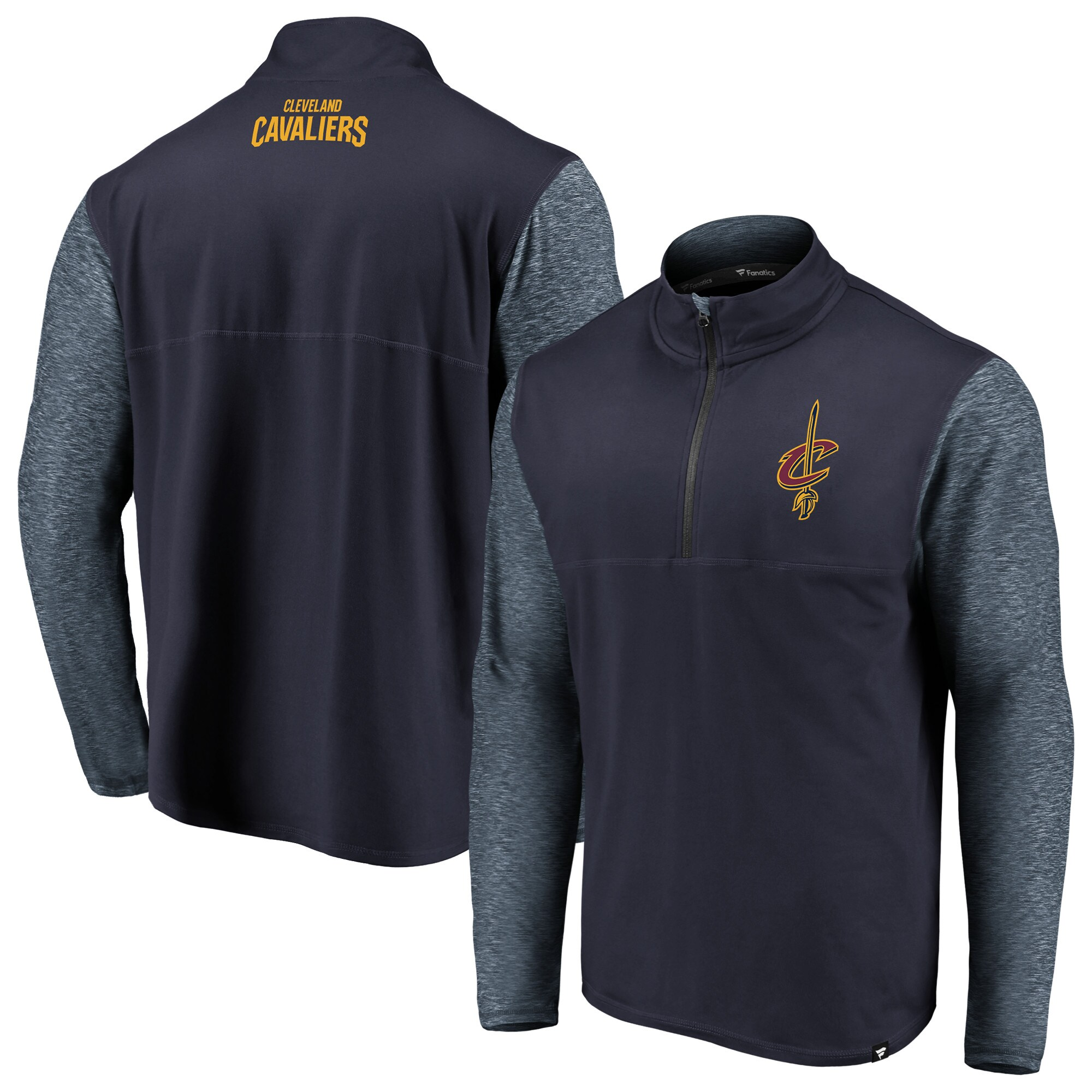 Cleveland Cavaliers Fanatics Branded Big & Tall Made to Move Static Performance Quarter-Zip Pullover Jacket - Navy/Heathered Navy