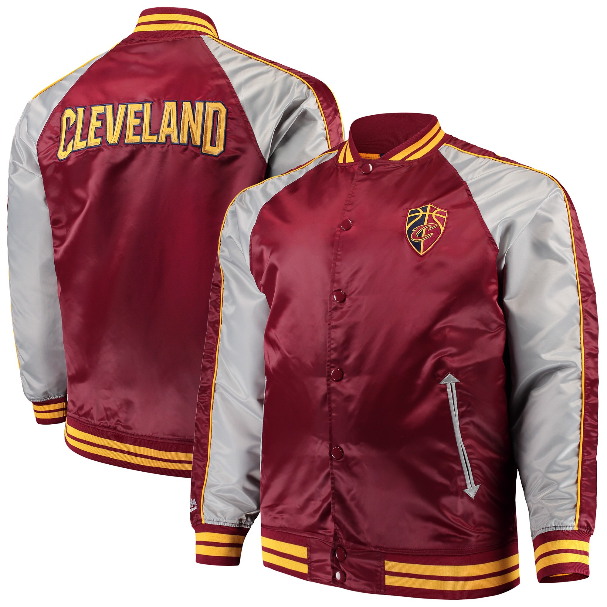 Cleveland Cavaliers Majestic Big & Tall Lightweight Satin Full-Snap Jacket - Wine