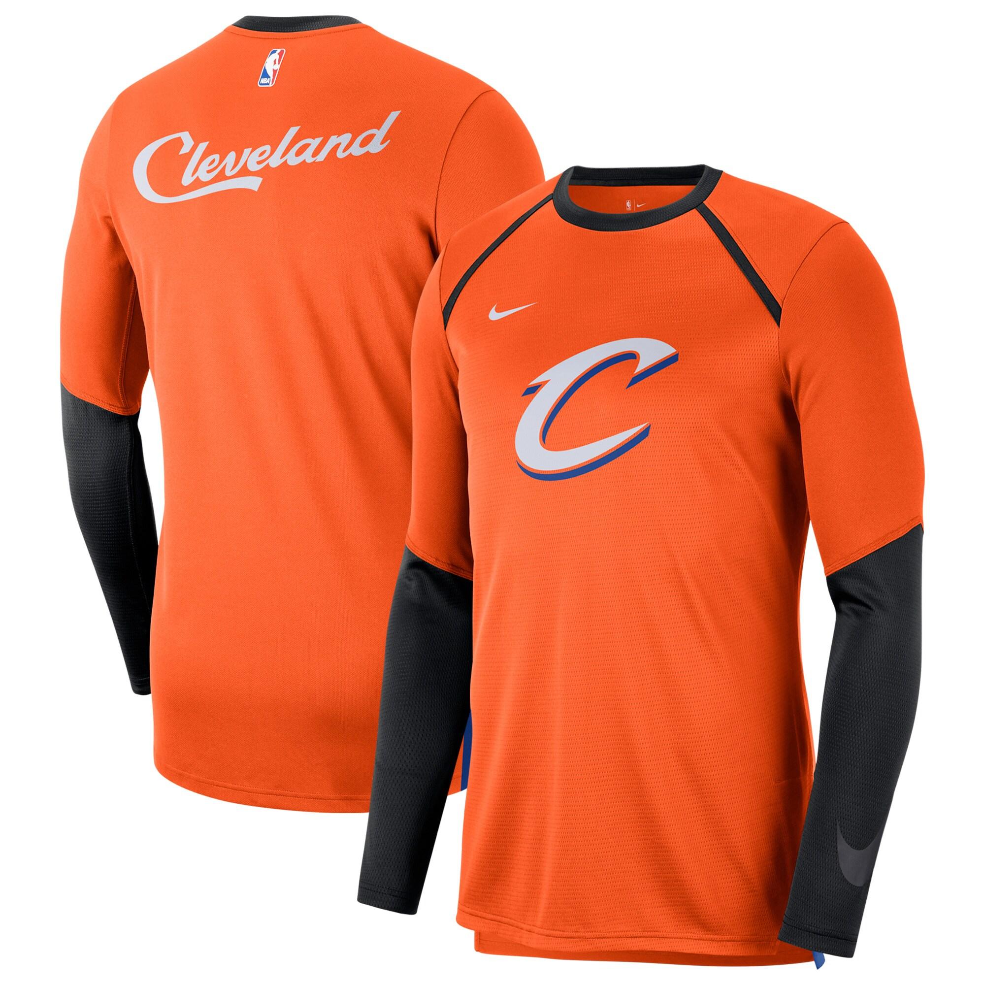 Cleveland Cavaliers Nike City Edition Long Sleeve Shooting T-Shirt - Orange