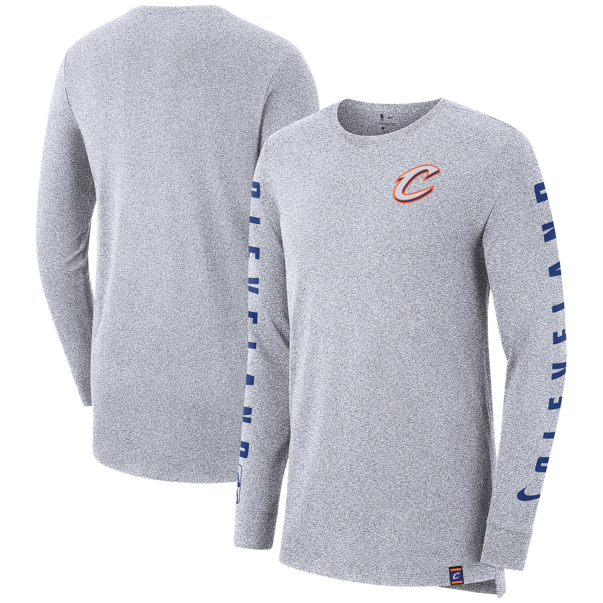 Cleveland Cavaliers Nike City Edition Elevated Marled Long Sleeve T-Shirt - Gray