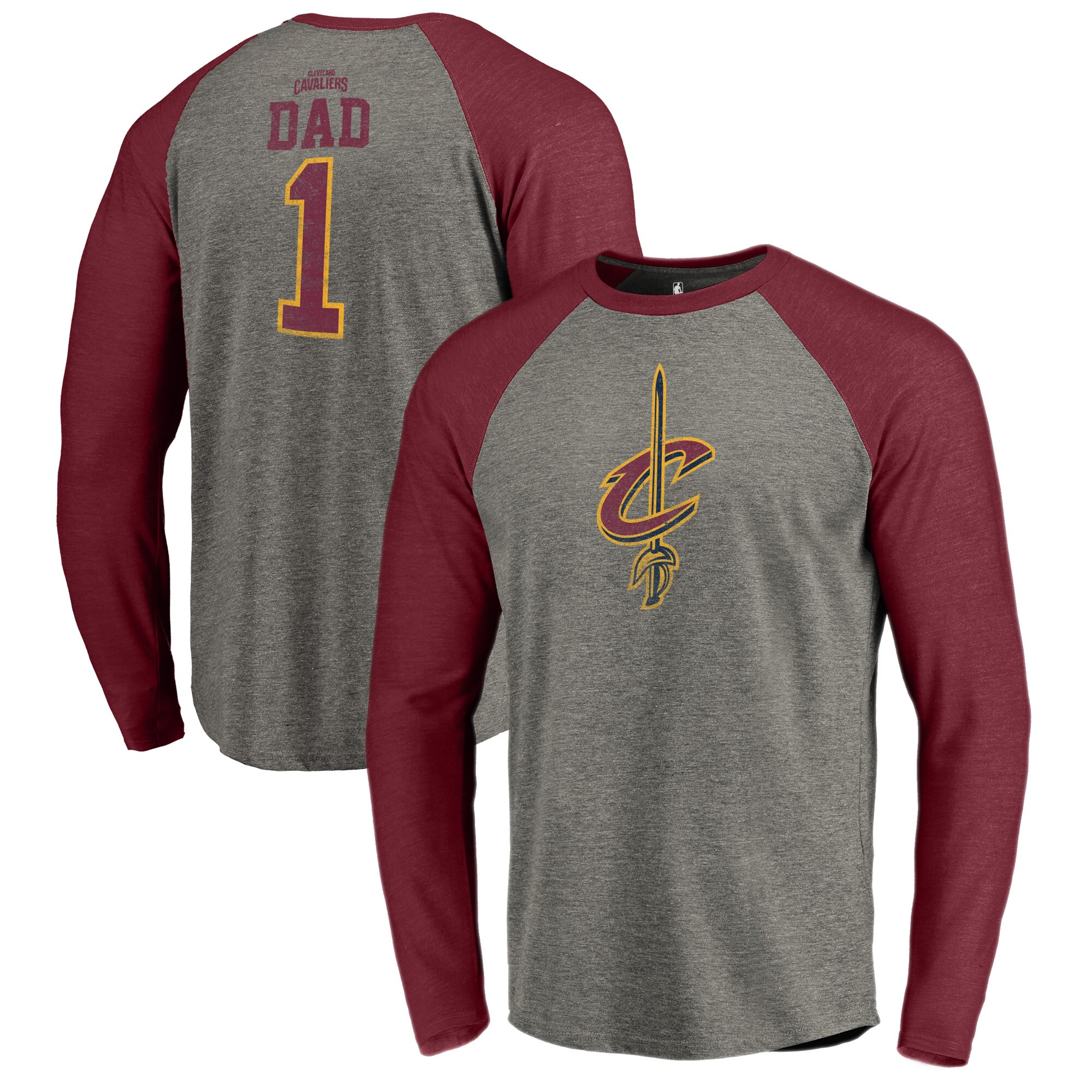 Cleveland Cavaliers Fanatics Branded Greatest Dad Long Sleeve Tri-Blend Raglan T-Shirt - Heathered Gray