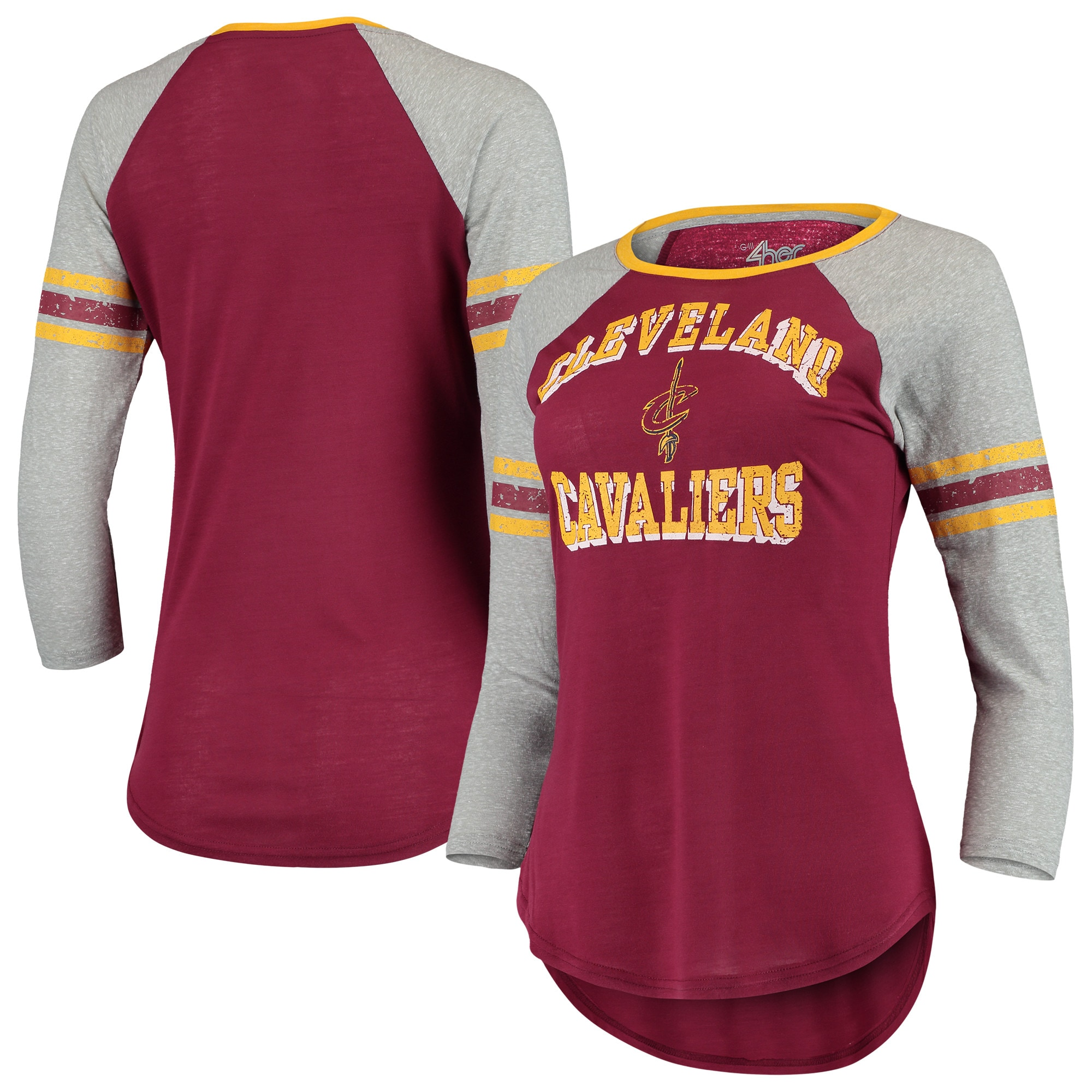 Cleveland Cavaliers G-III 4Her by Carl Banks Women's The Court Tri-Blend Raglan 3/4-Sleeve T-Shirt - Wine/Heathered Gray
