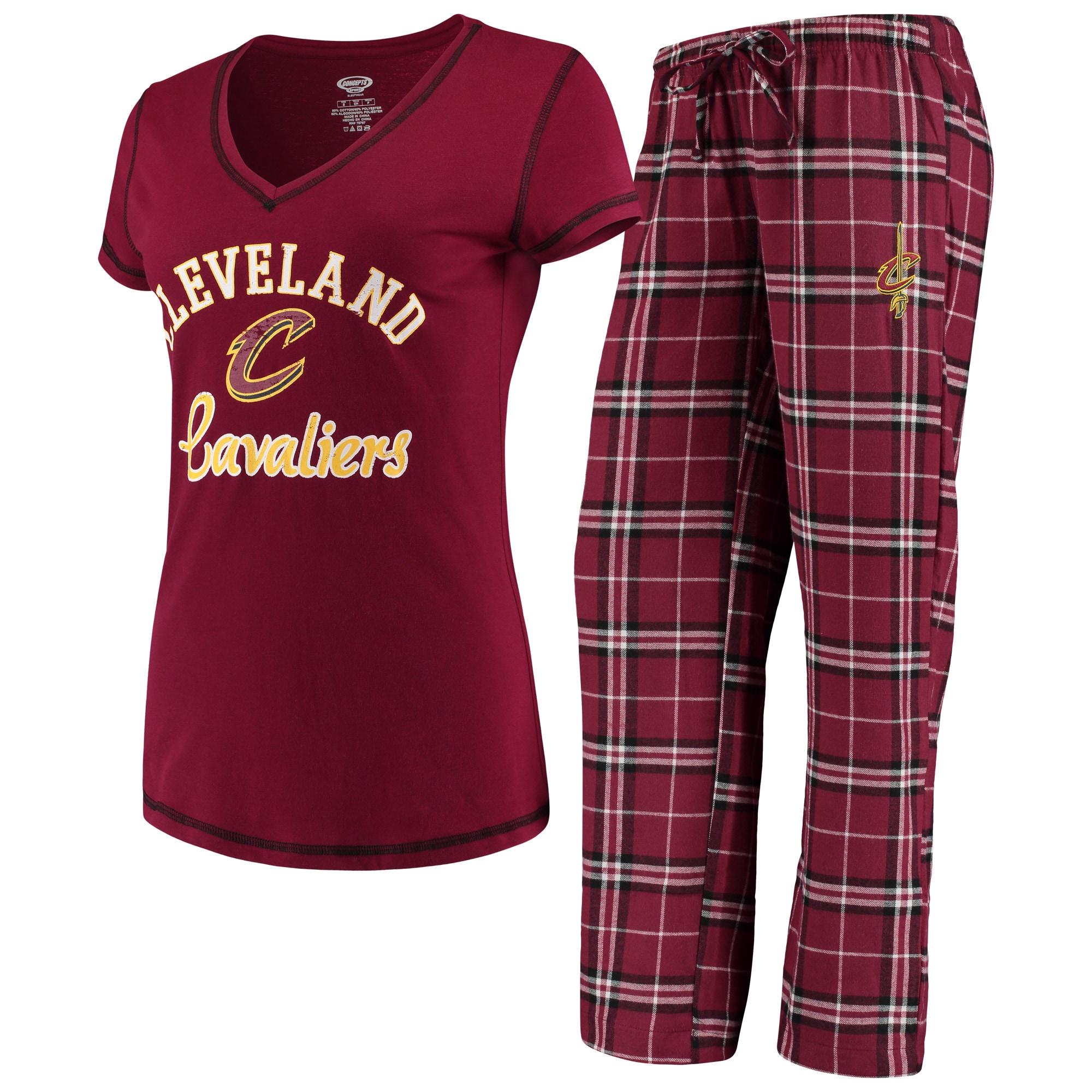 Cleveland Cavaliers Concepts Sport Women's Duo V-Neck T-Shirt & Pants Sleep Set - Wine