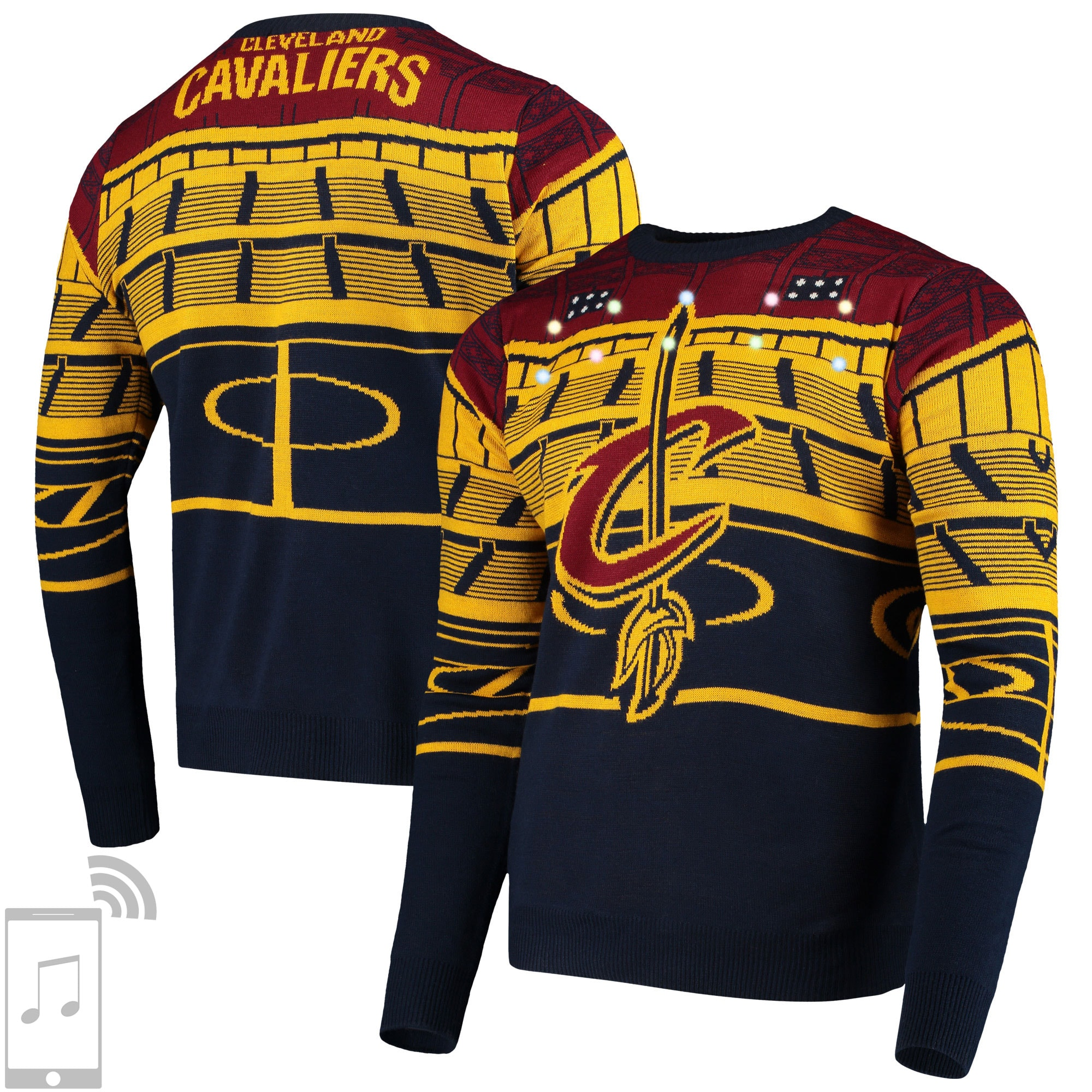 Cleveland Cavaliers Courtside Bluetooth-Enabled Light Up Ugly Sweater - Navy