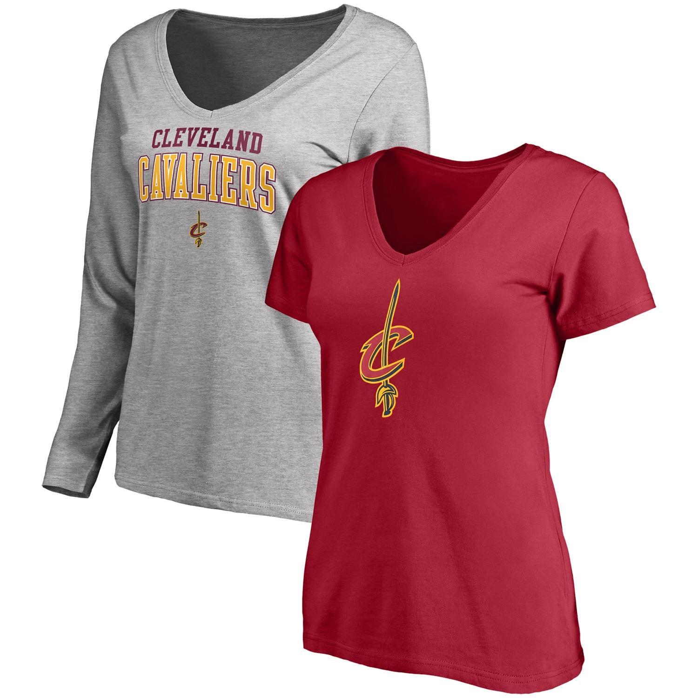 Cleveland Cavaliers Fanatics Branded Women's Square V-Neck T-Shirt Combo Set - Wine/Gray