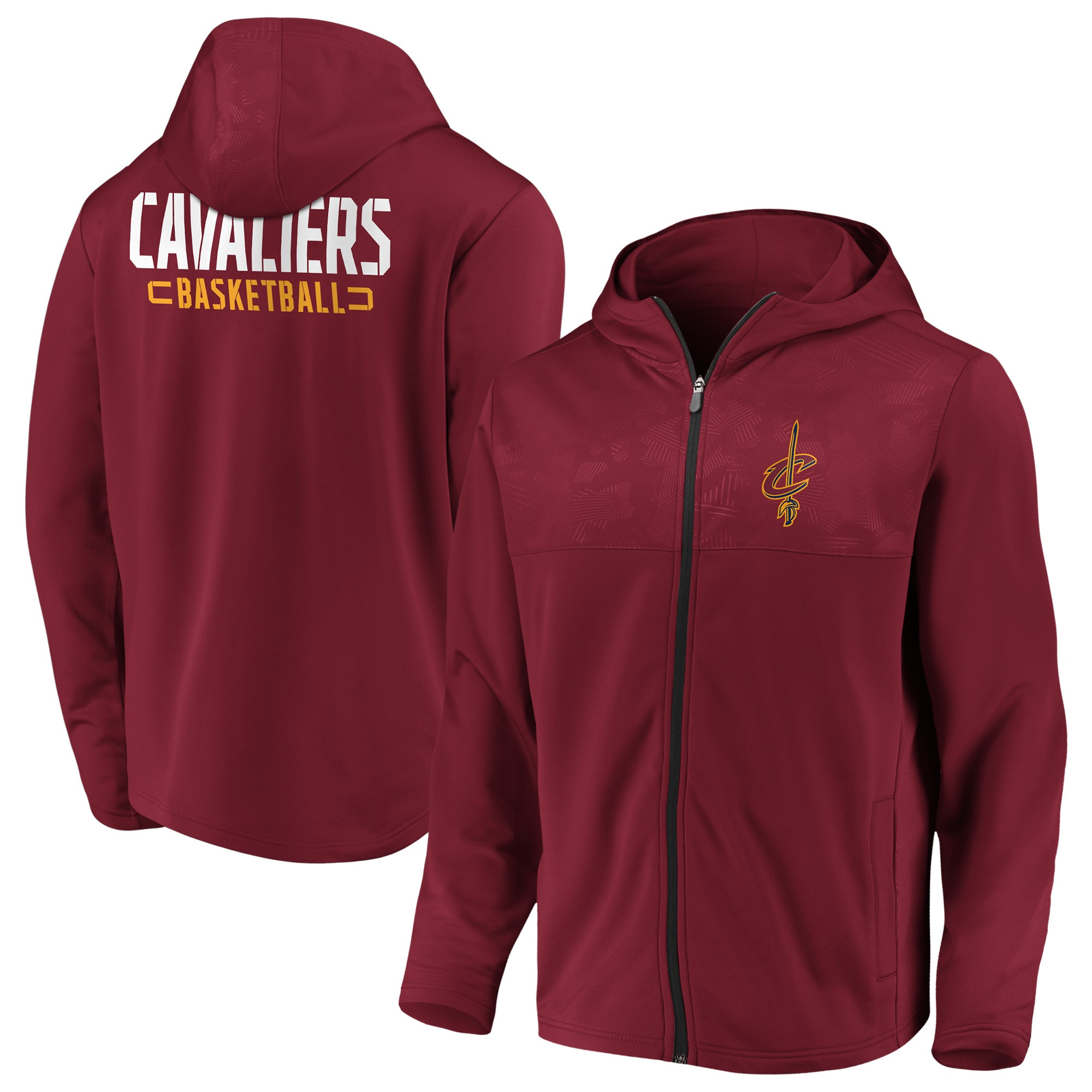 Cleveland Cavaliers Fanatics Branded Iconic Defender Mission Performance Primary Logo Full-Zip Hoodie - Wine