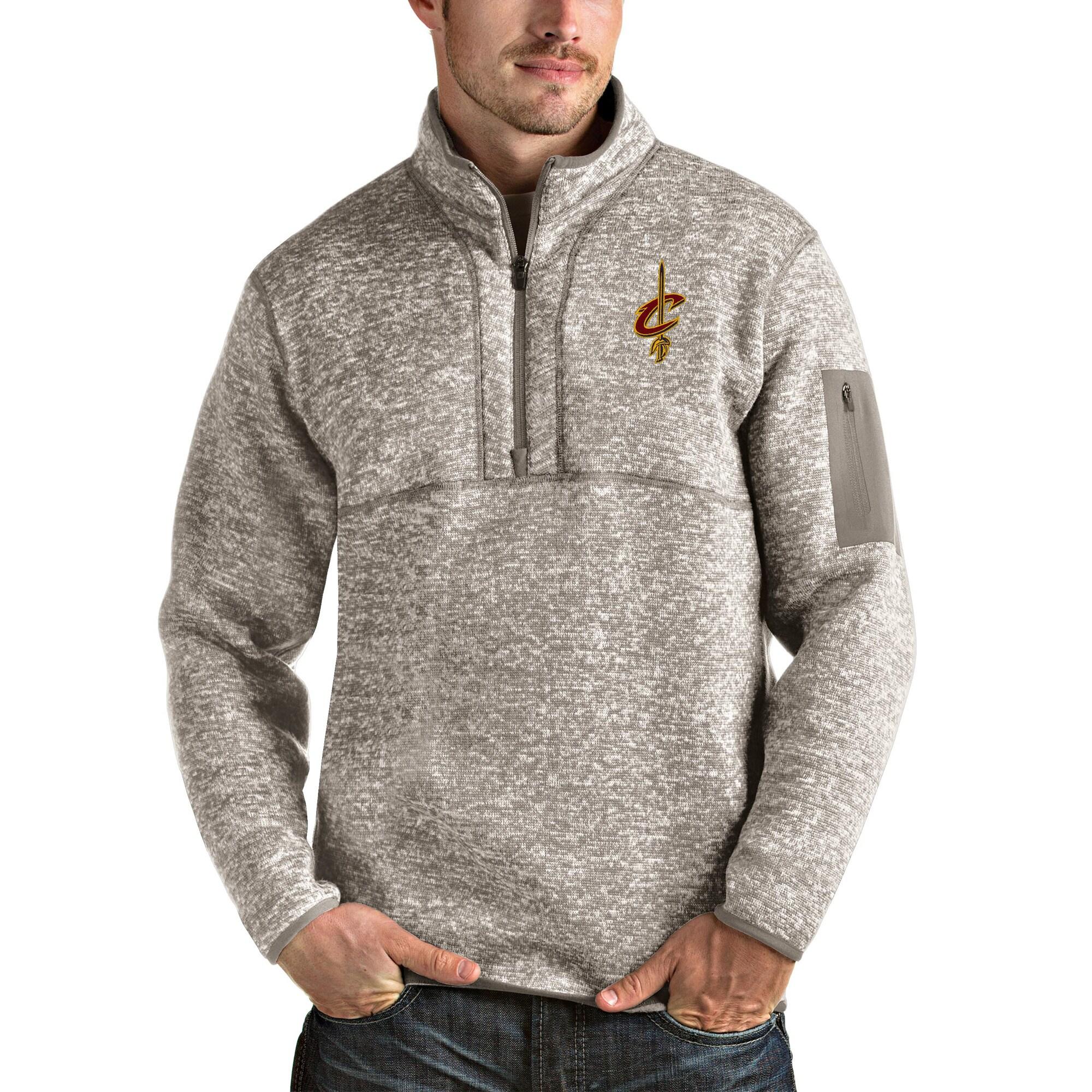 Cleveland Cavaliers Antigua Fortune Quarter-Zip Pullover Jacket - Natural