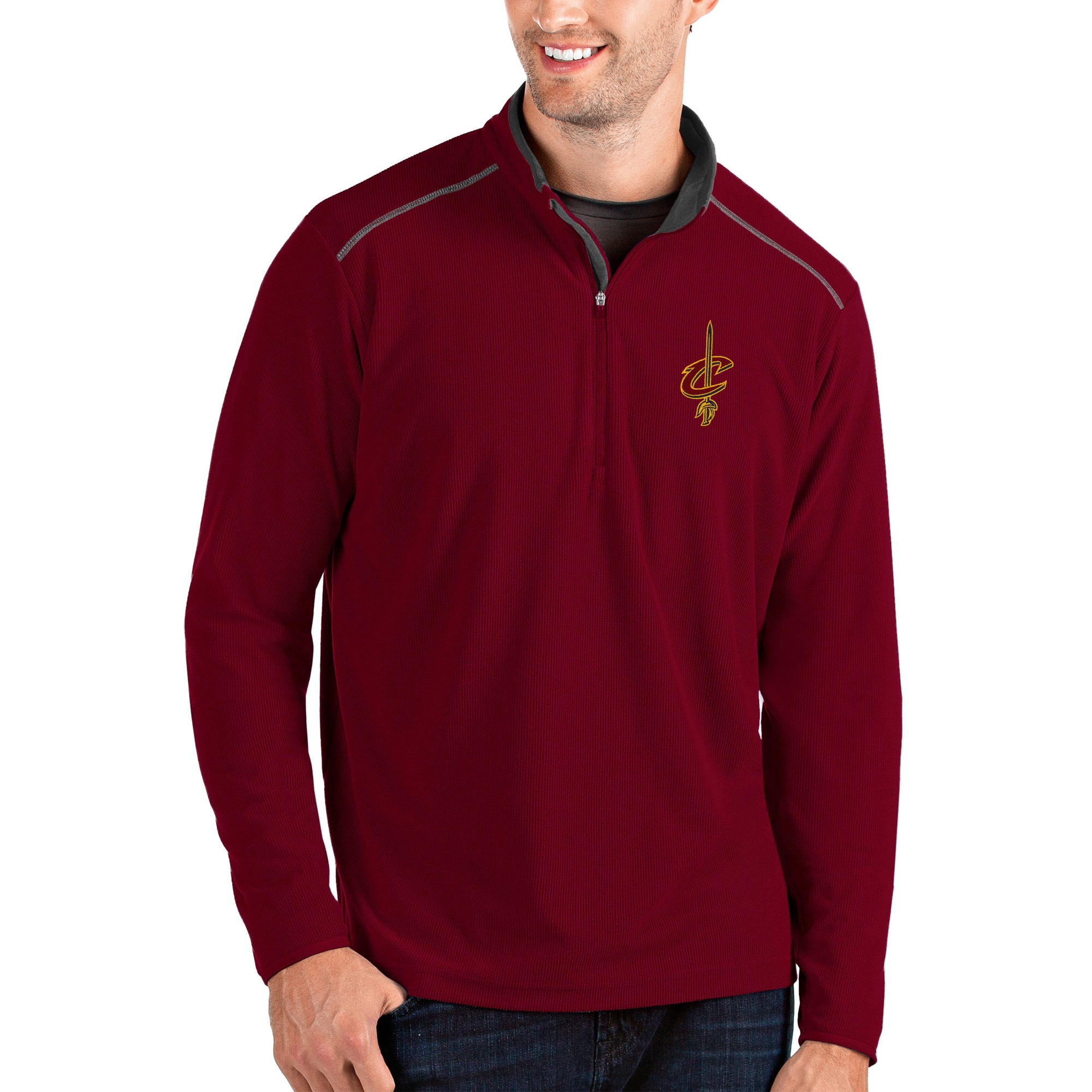 Cleveland Cavaliers Antigua Glacier Quarter-Zip Pullover Jacket - Wine/Gray
