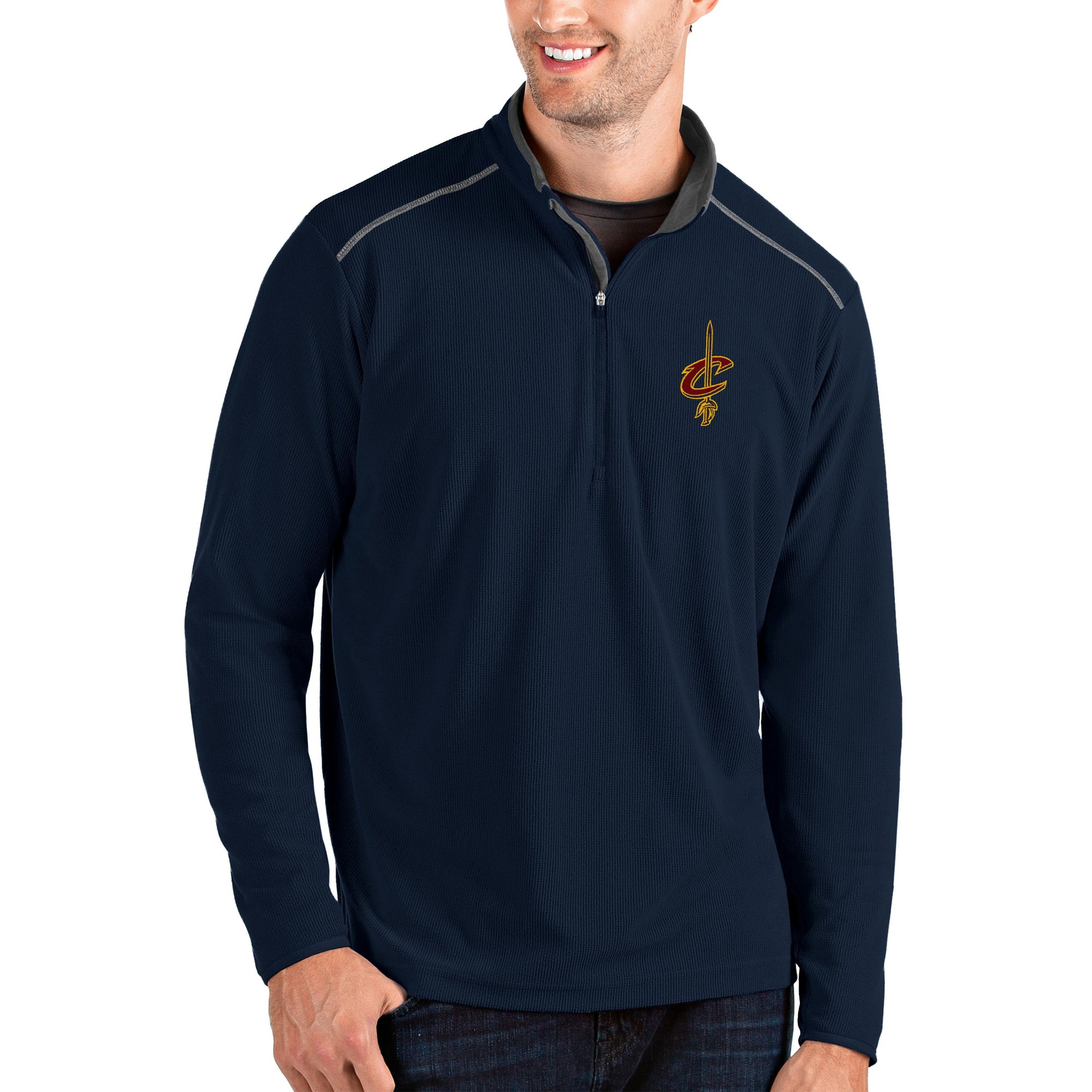 Cleveland Cavaliers Antigua Glacier Quarter-Zip Pullover Jacket - Navy/Gray