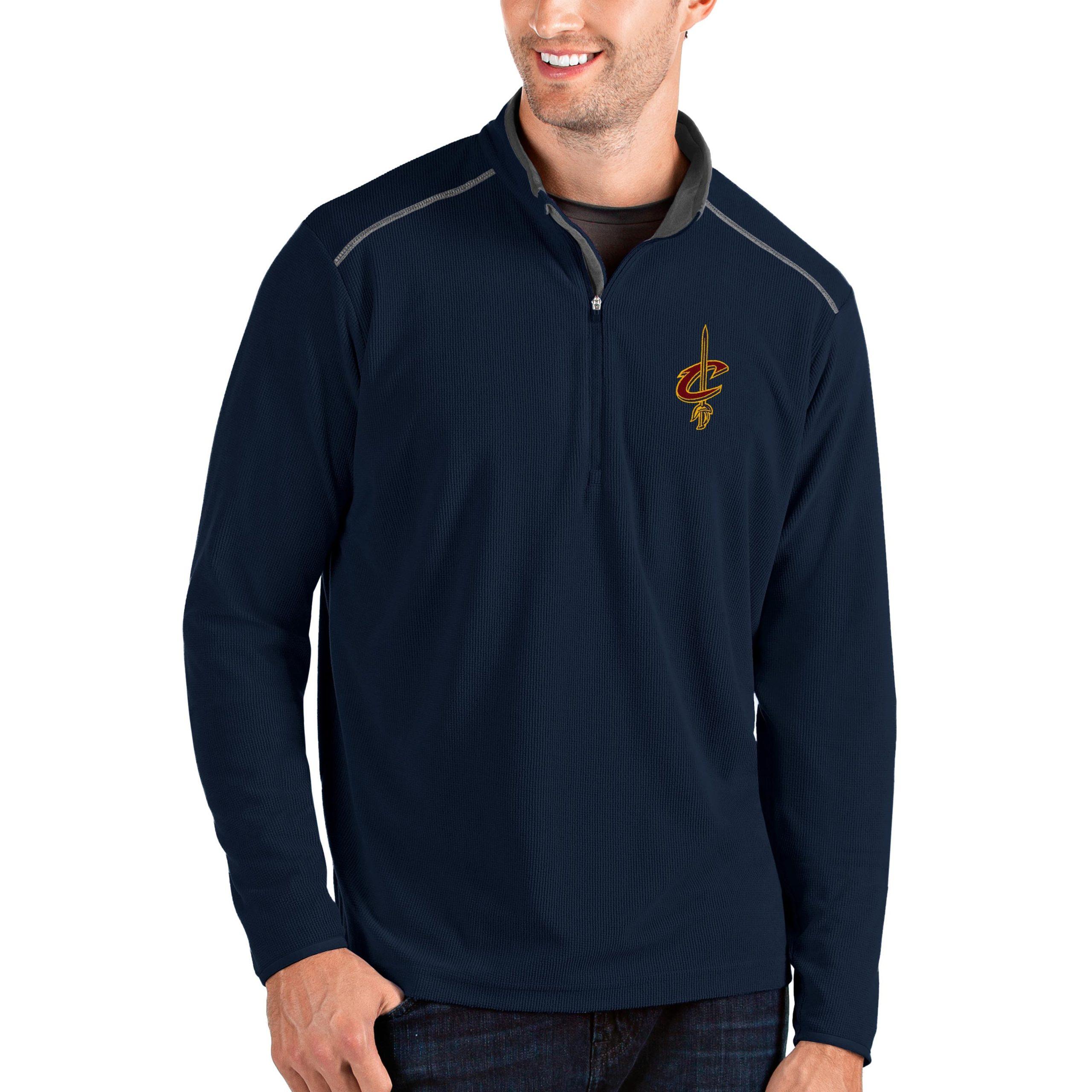 Cleveland Cavaliers Antigua Big & Tall Glacier Quarter-Zip Pullover Jacket - Navy/Gray