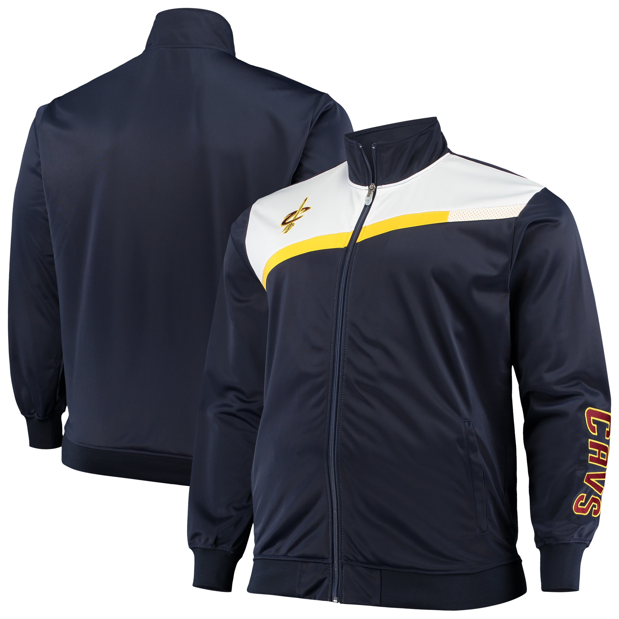 Cleveland Cavaliers Big & Tall Showtime Tricot Full-Zip Track Jacket - Navy/White