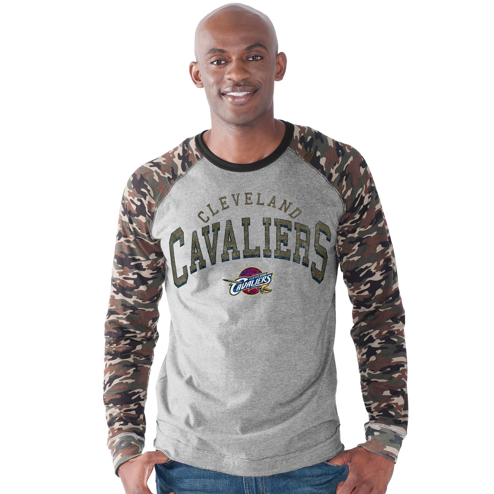 Cleveland Cavaliers G-III Sports by Carl Banks Camo Jersey Raglan Long Sleeve T-Shirt - Heather Gray
