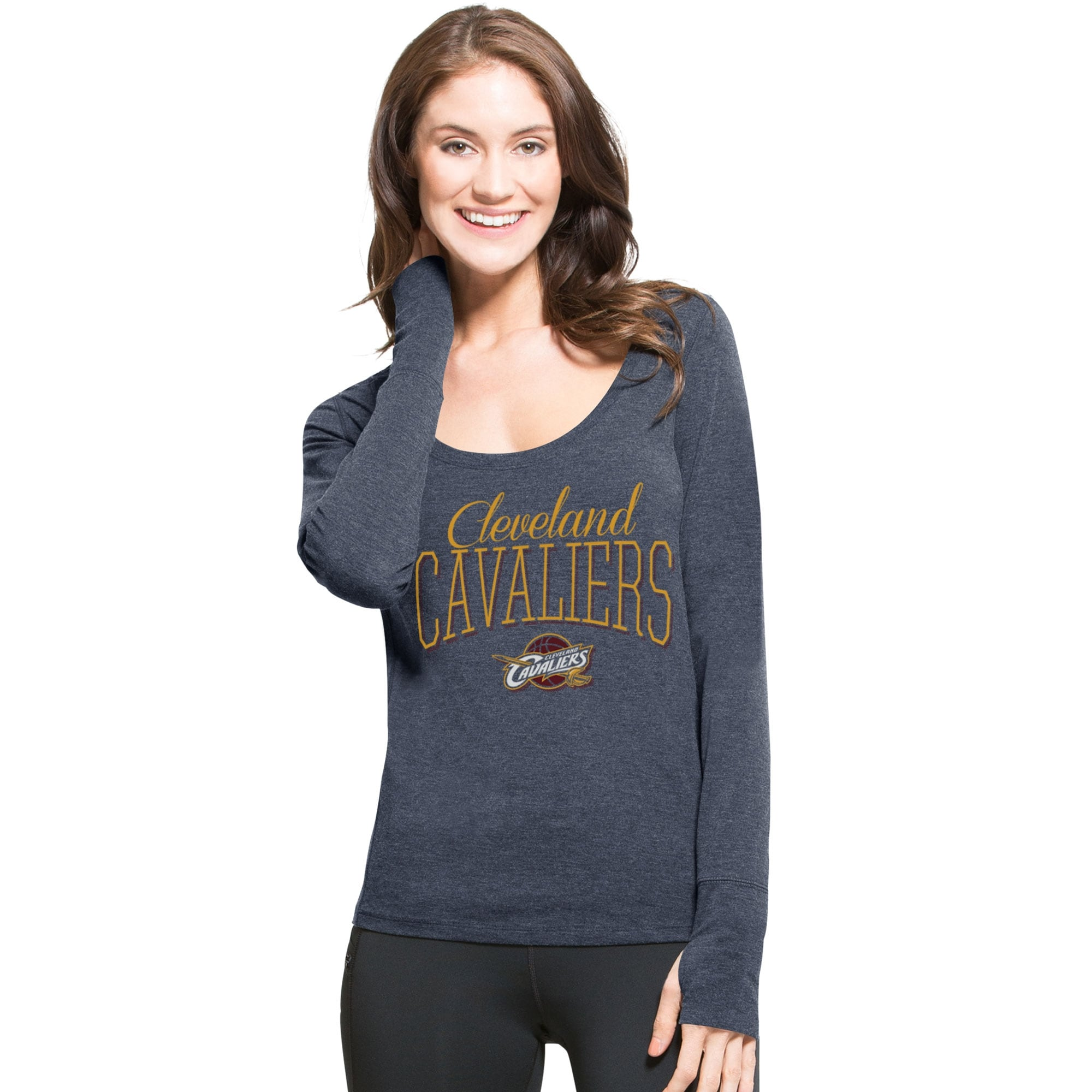 Cleveland Cavaliers '47 Women's SHIFT Dash Long Sleeve Tri-Blend T-Shirt - Navy