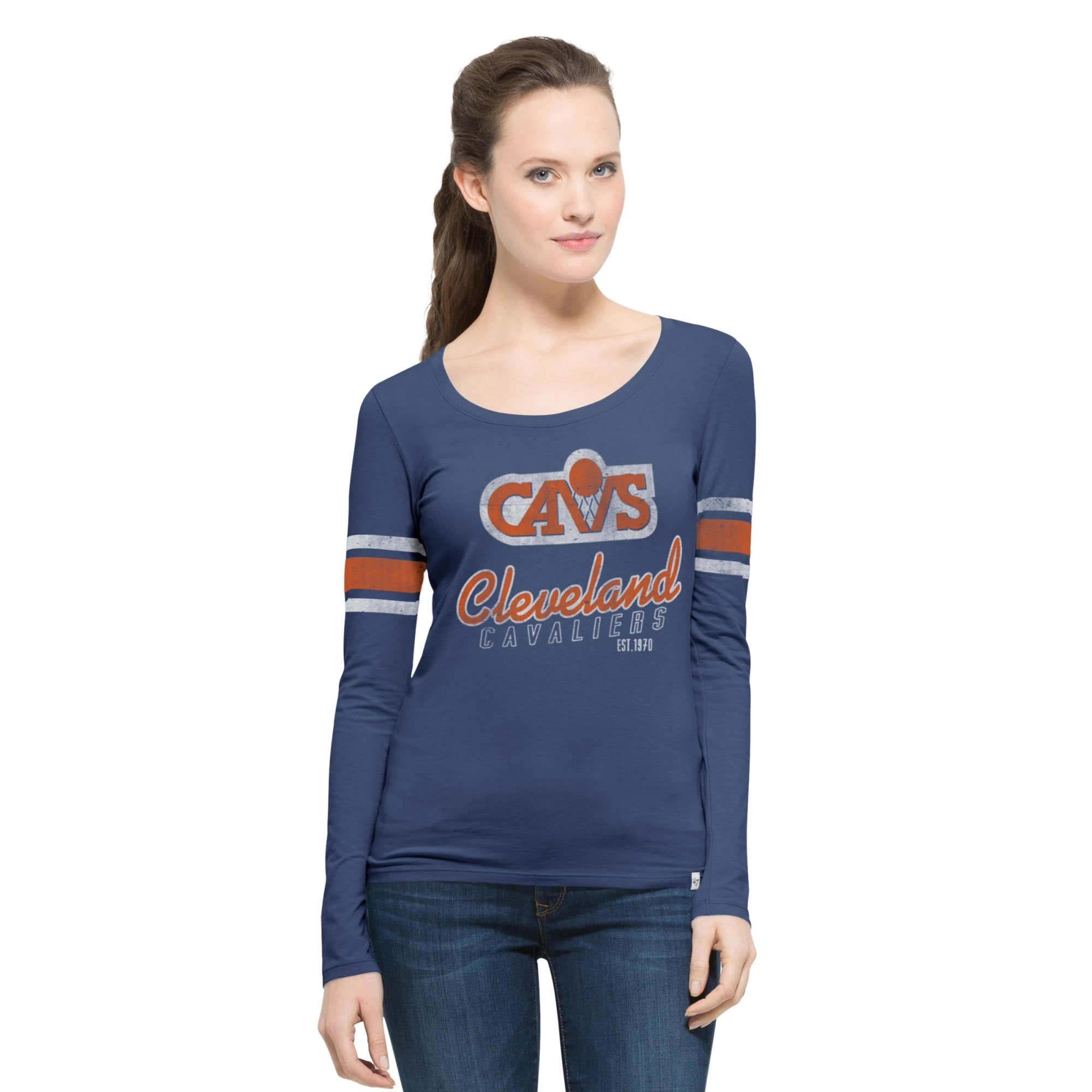 Cleveland Cavaliers '47 Women's Hardwood Classics Three Point Long Sleeve T-Shirt - Navy