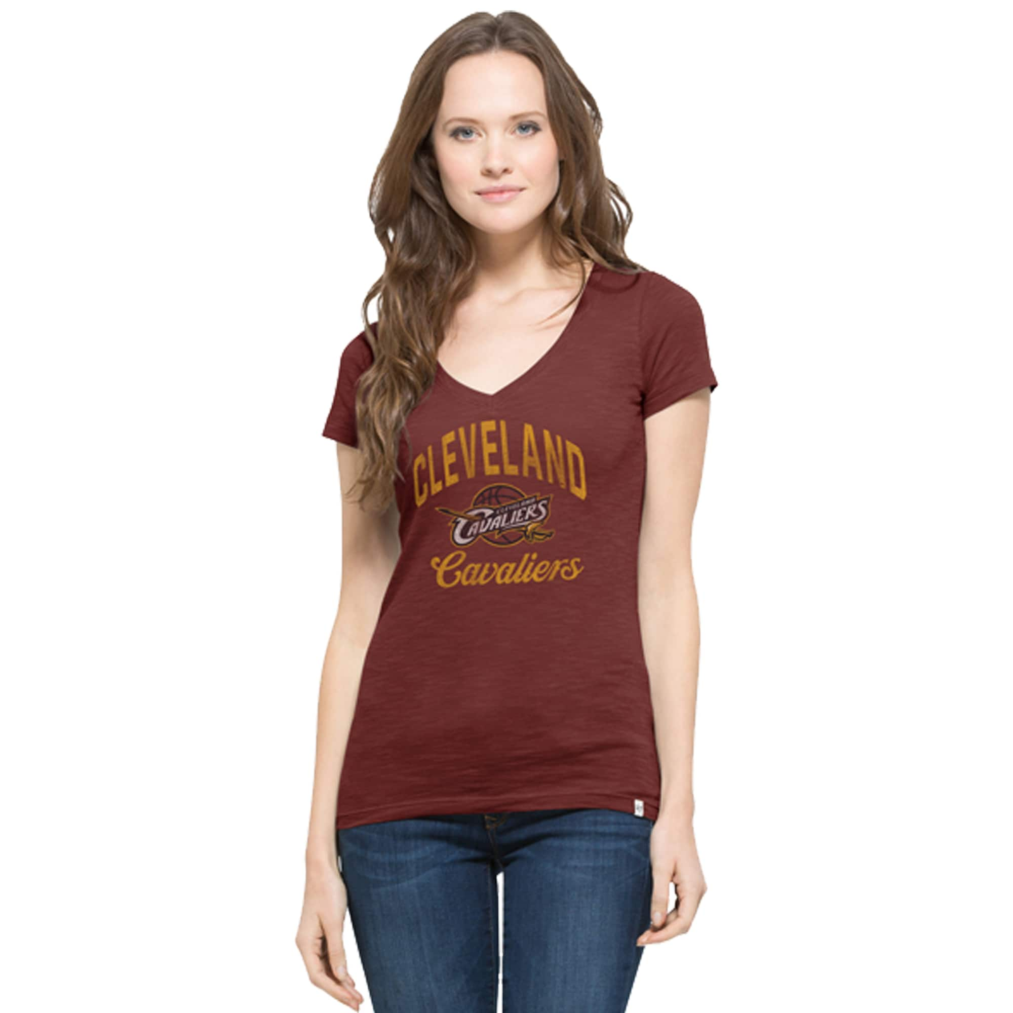 Cleveland Cavaliers '47 Women's Current Day Primary Logo Scrum V-Neck T-Shirt - Burgundy