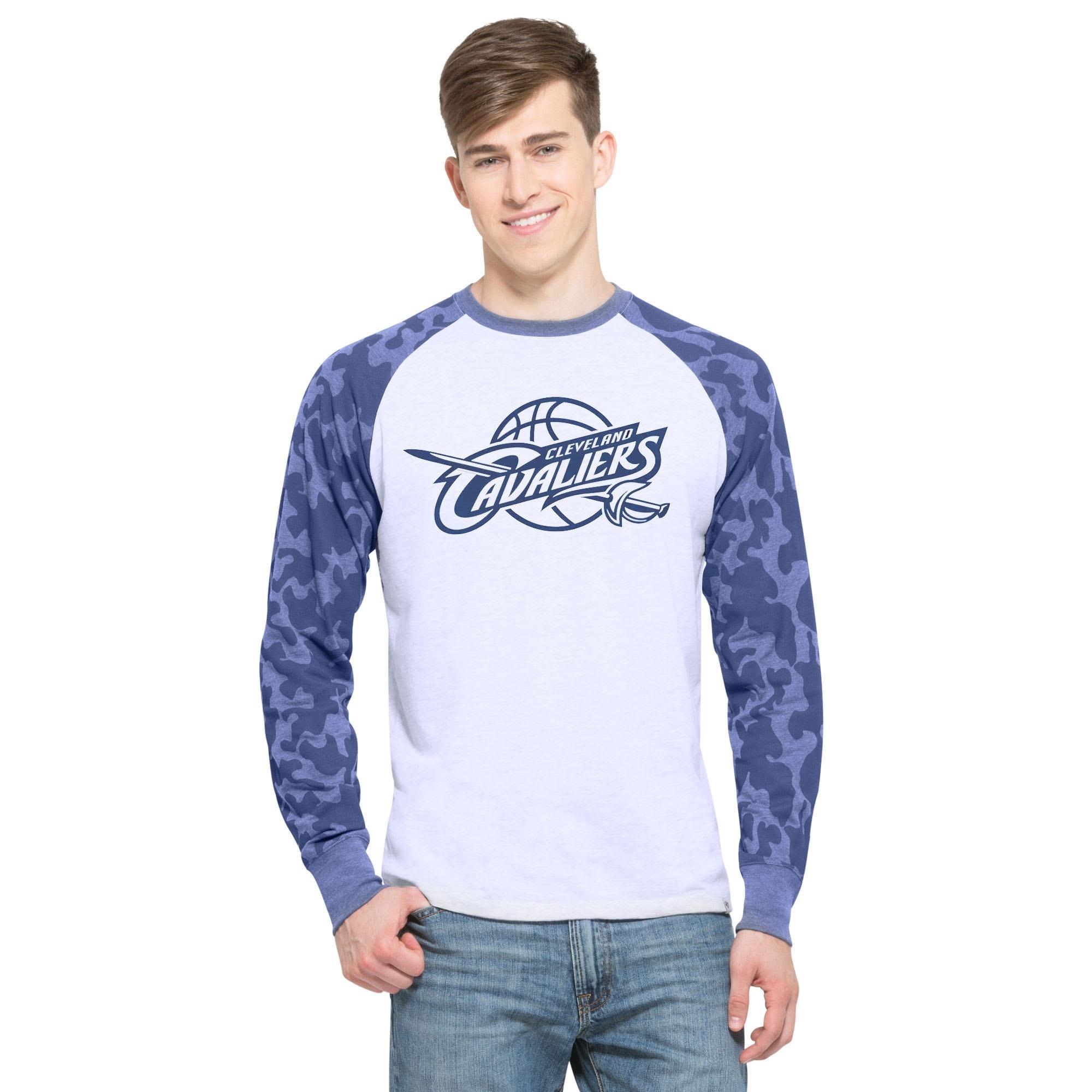 Cleveland Cavaliers '47 Stealth Camo Raglan Long Sleeve T-Shirt - Ash