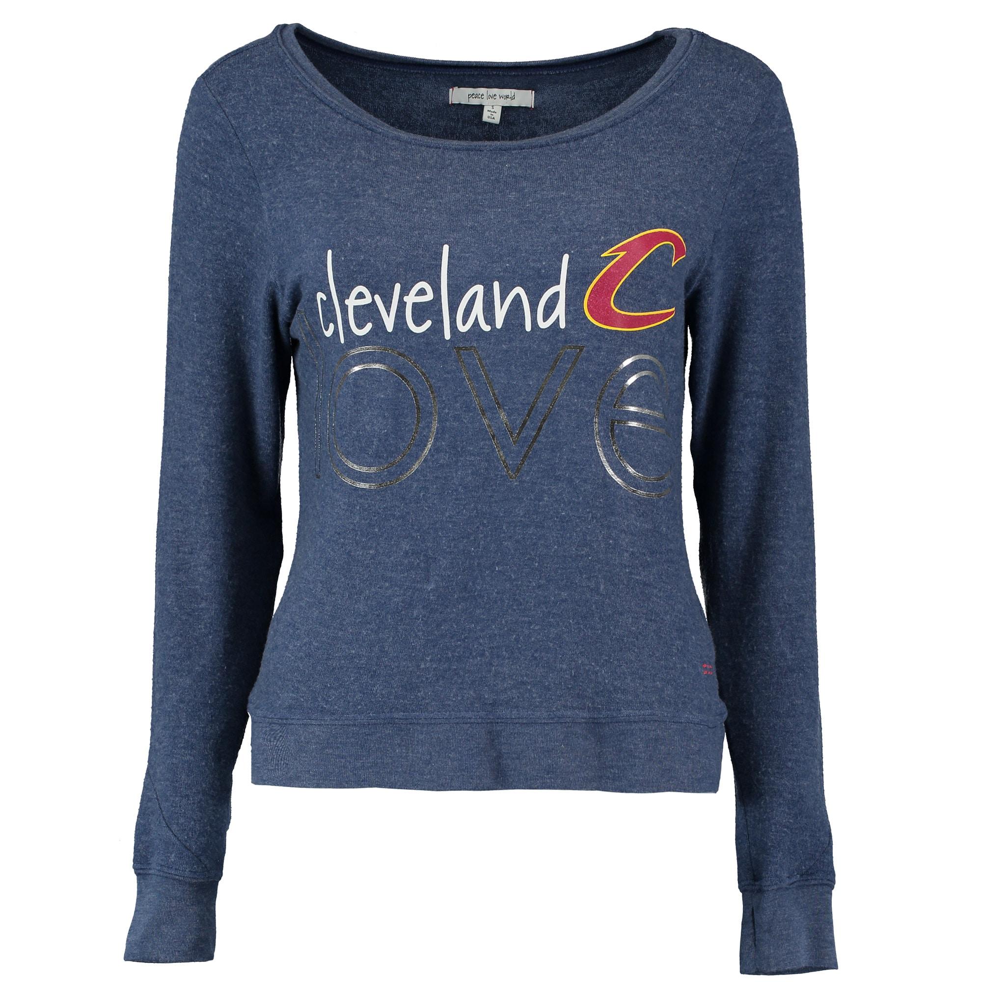 Cleveland Cavaliers Peace Love World Women's City Love Comfy Long Sleeve T-Shirt - Navy