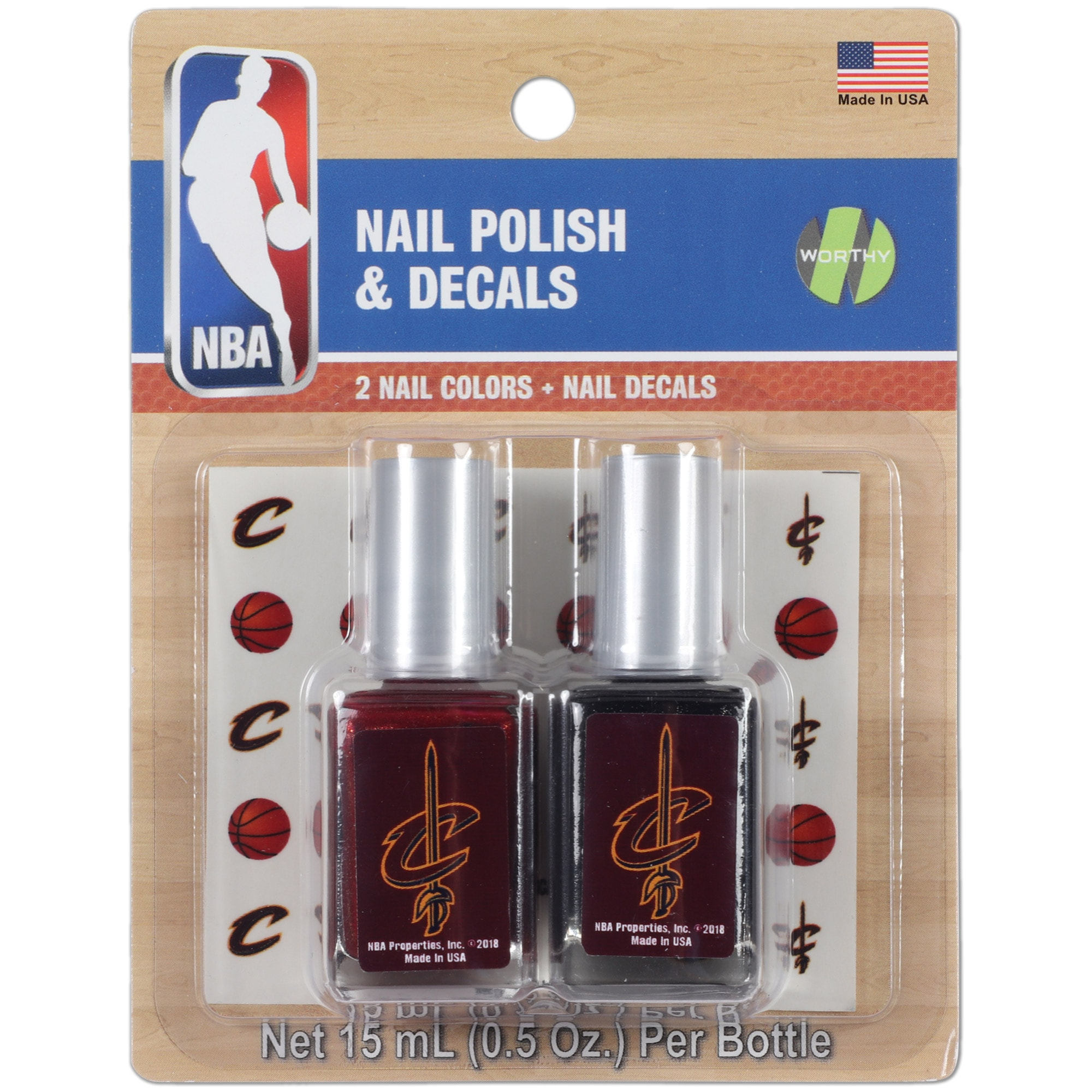 Cleveland Cavaliers 2-Pack Nail Polish with Nail Decal