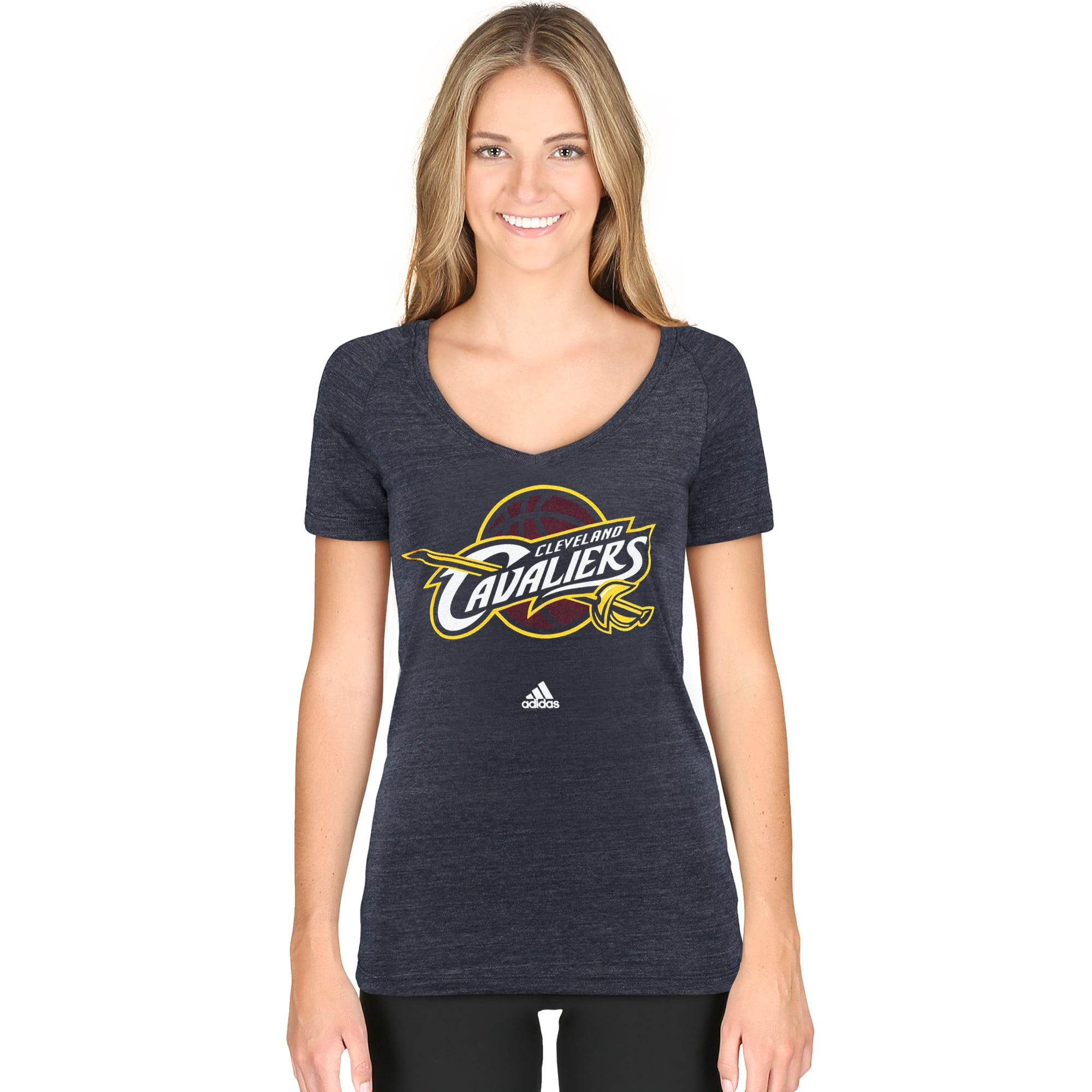 Cleveland Cavaliers adidas Women's Primary Logo Tri-Blend V-Neck T-Shirt - Navy