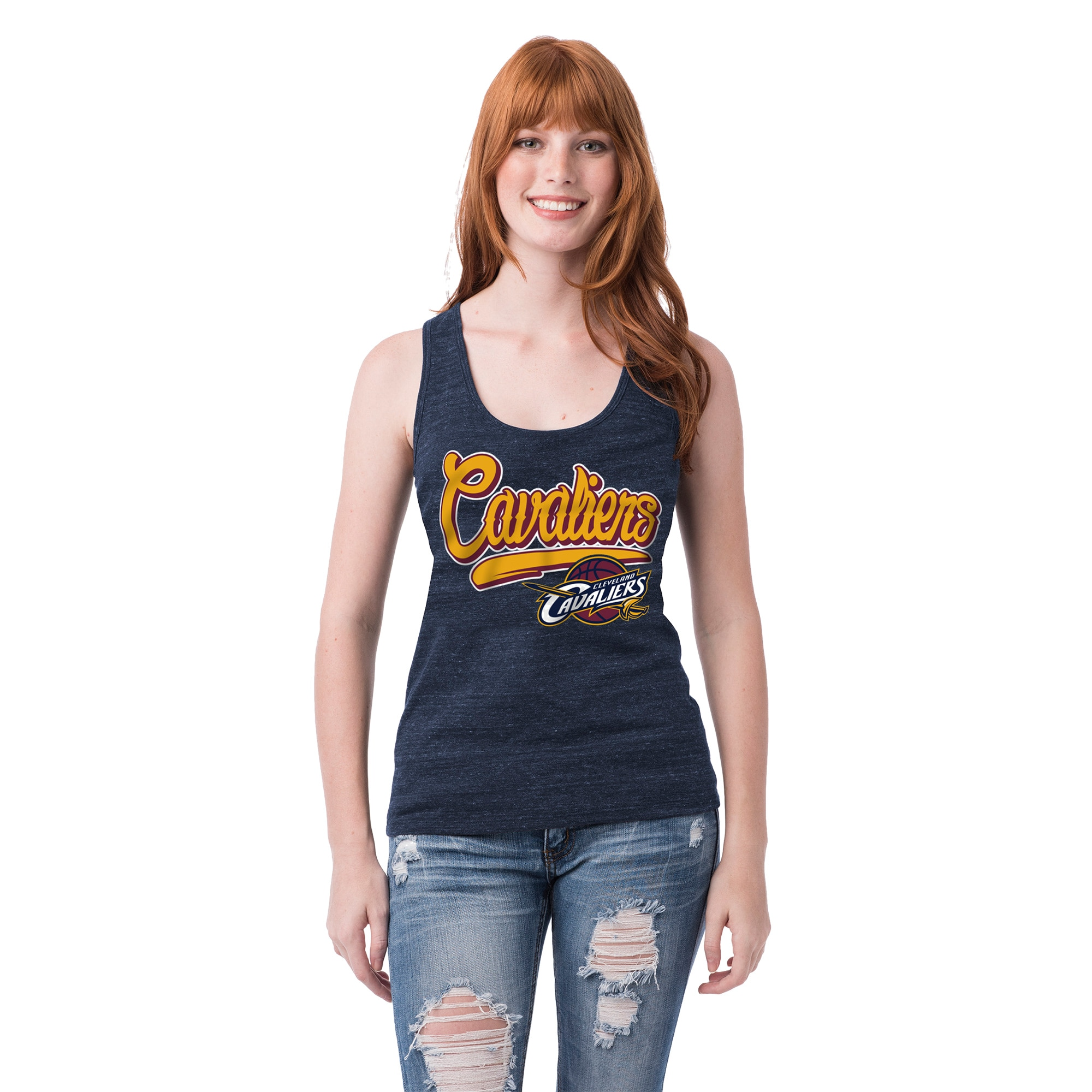 Cleveland Cavaliers 5th & Ocean by New Era Women's Tri-Blend Tank Top - Heathered Navy