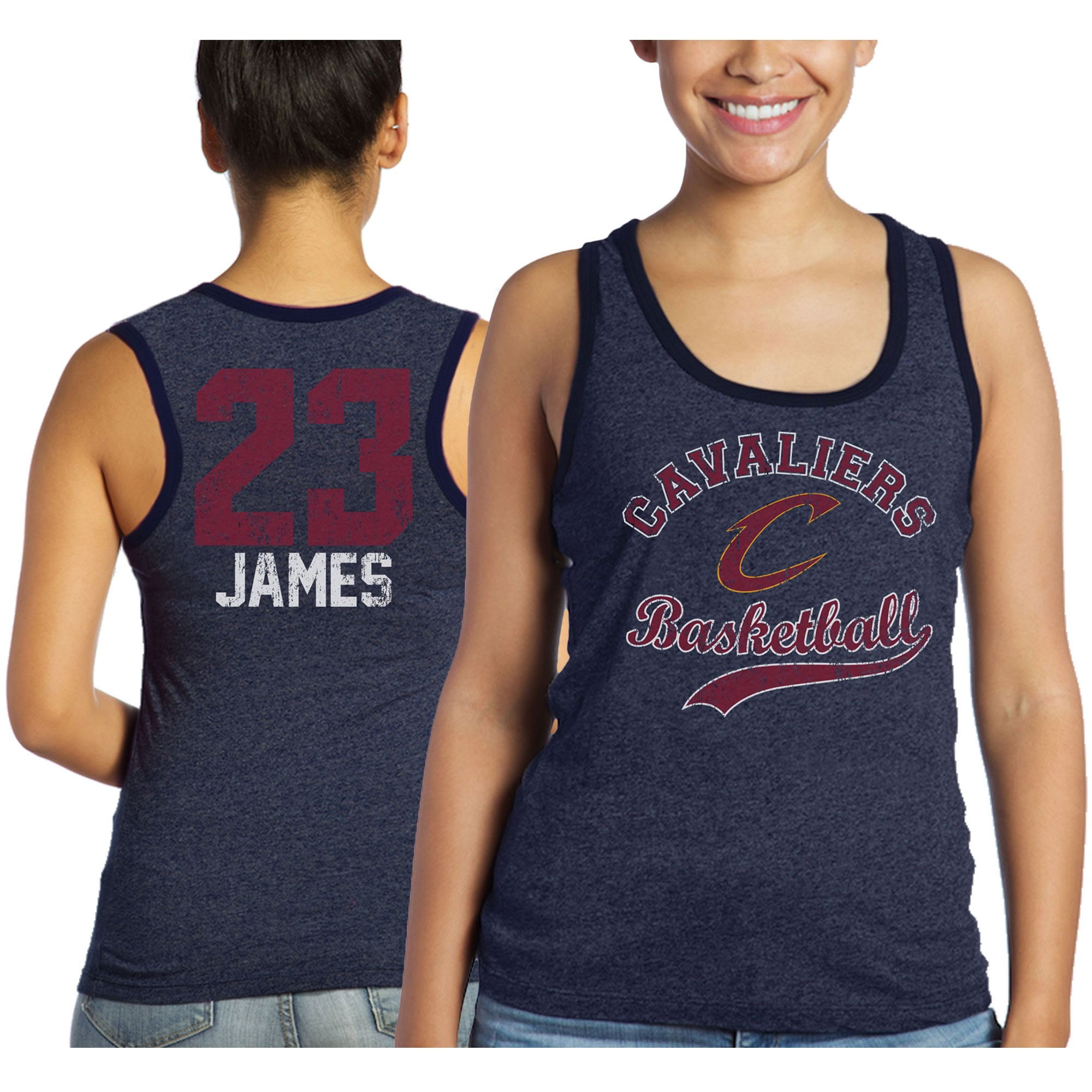 LeBron James Cleveland Cavaliers Majestic Threads Women's Name and Number Tri-Blend Tank Top - Navy
