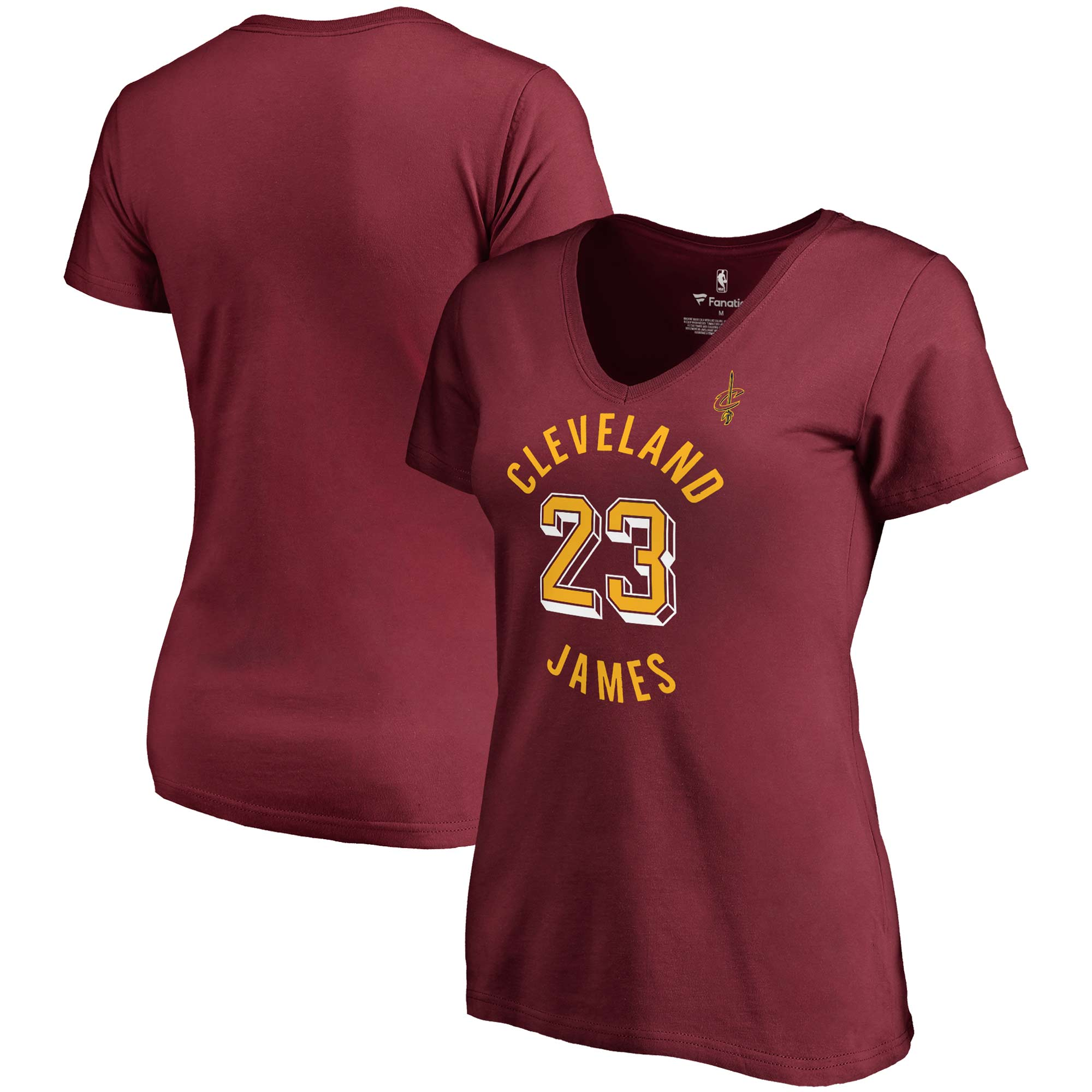 LeBron James Cleveland Cavaliers Fanatics Branded Women's Notable Name & Number V-Neck T-Shirt - Wine