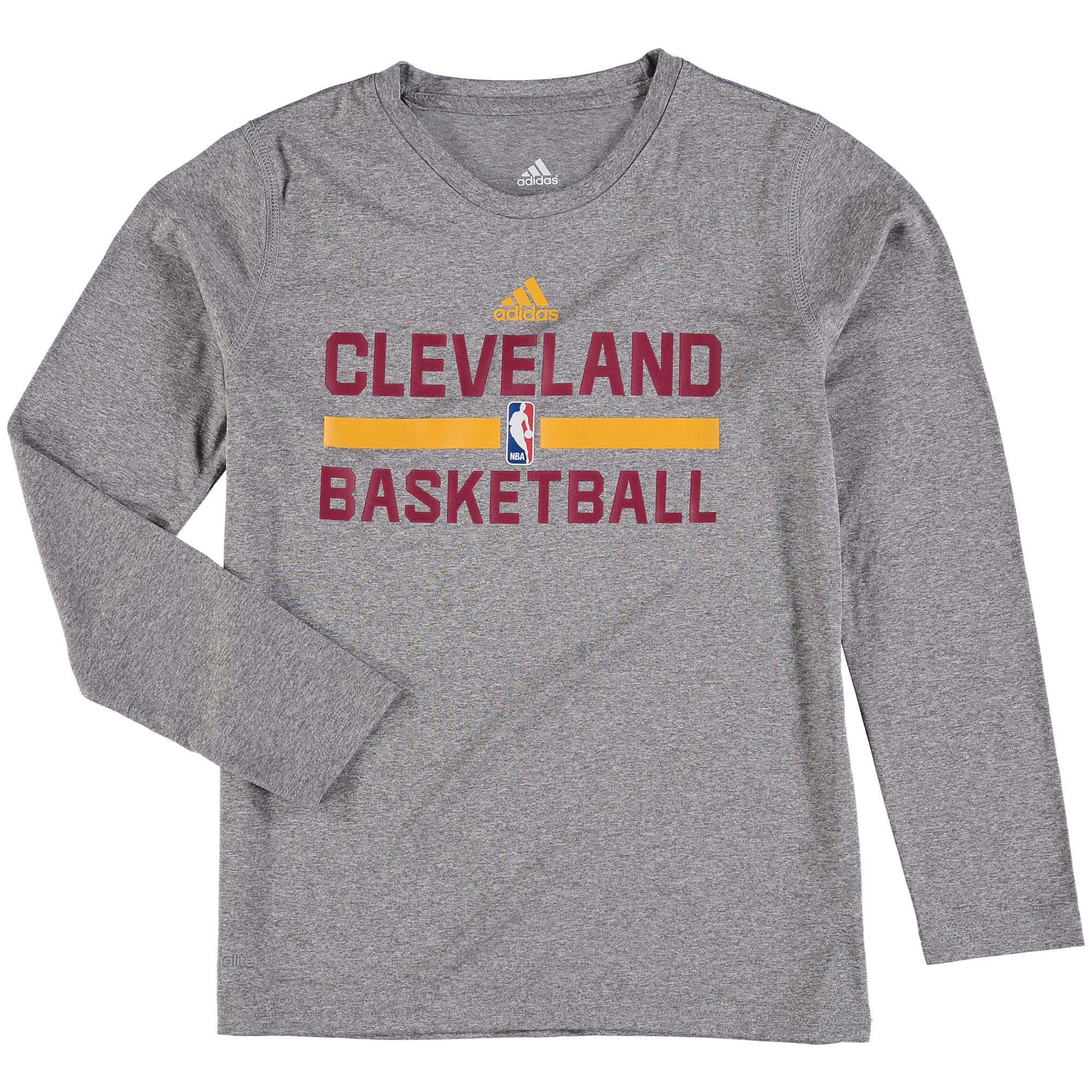 Cleveland Cavaliers adidas Youth On Court Practice Long Sleeve climalite T-Shirt - Heathered Gray