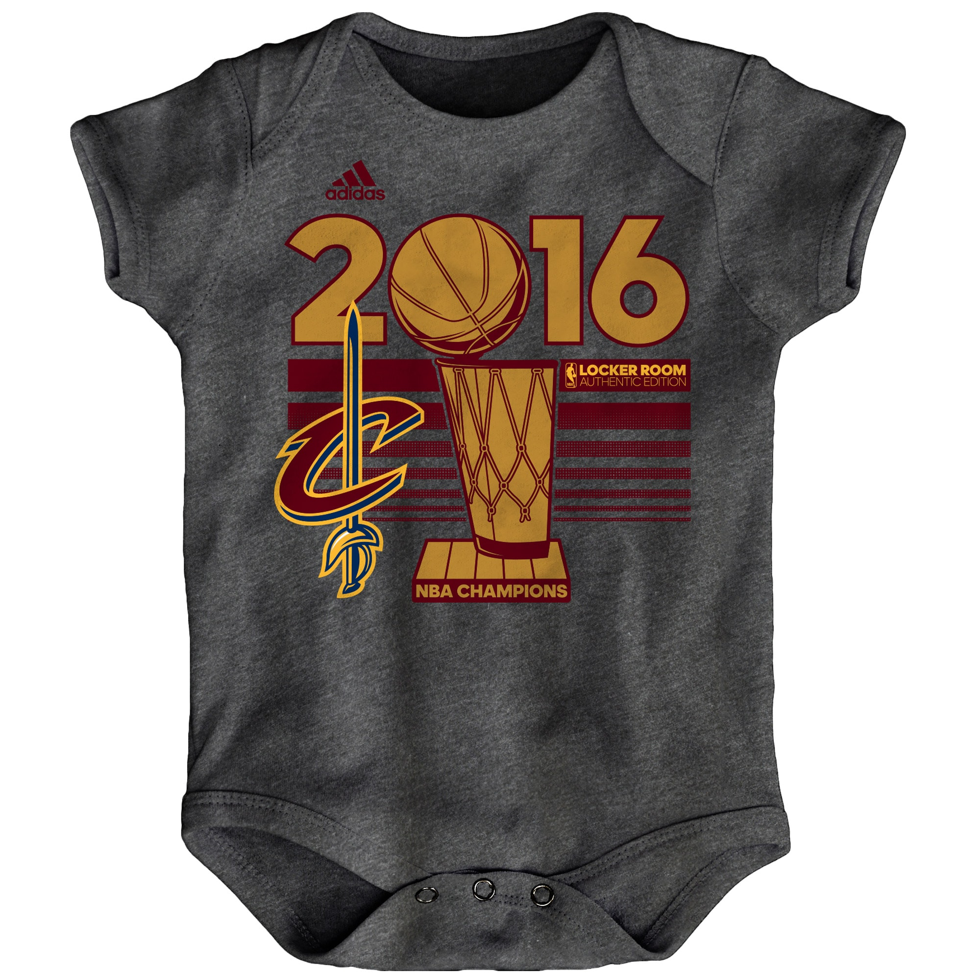 Cleveland Cavaliers adidas Infant 2016 NBA Finals Champions Locker Room Bodysuit - Charcoal