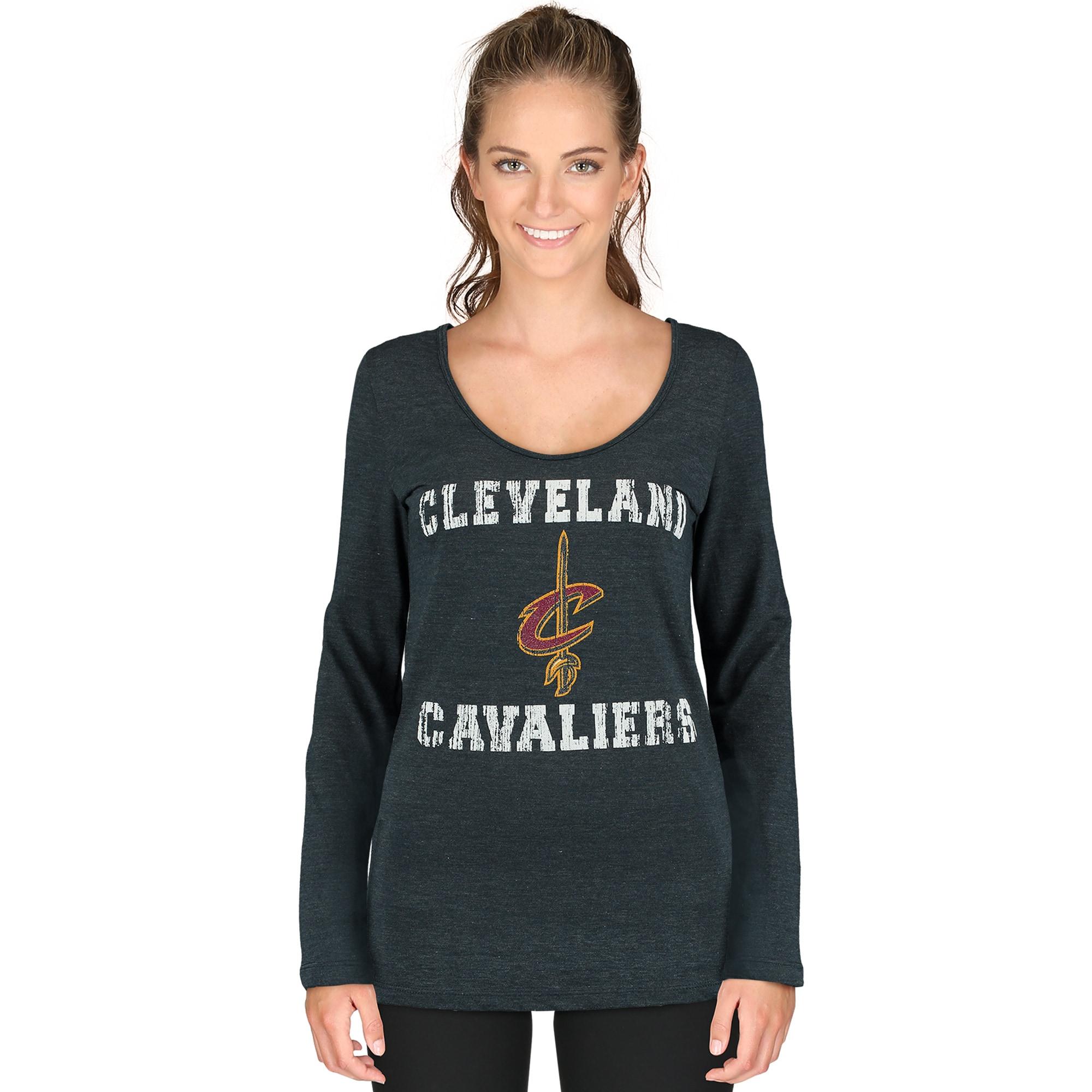 Cleveland Cavaliers 5th & Ocean by New Era Women's Glitter Logo Tri-Blend Long Sleeve T-Shirt - Navy Blue