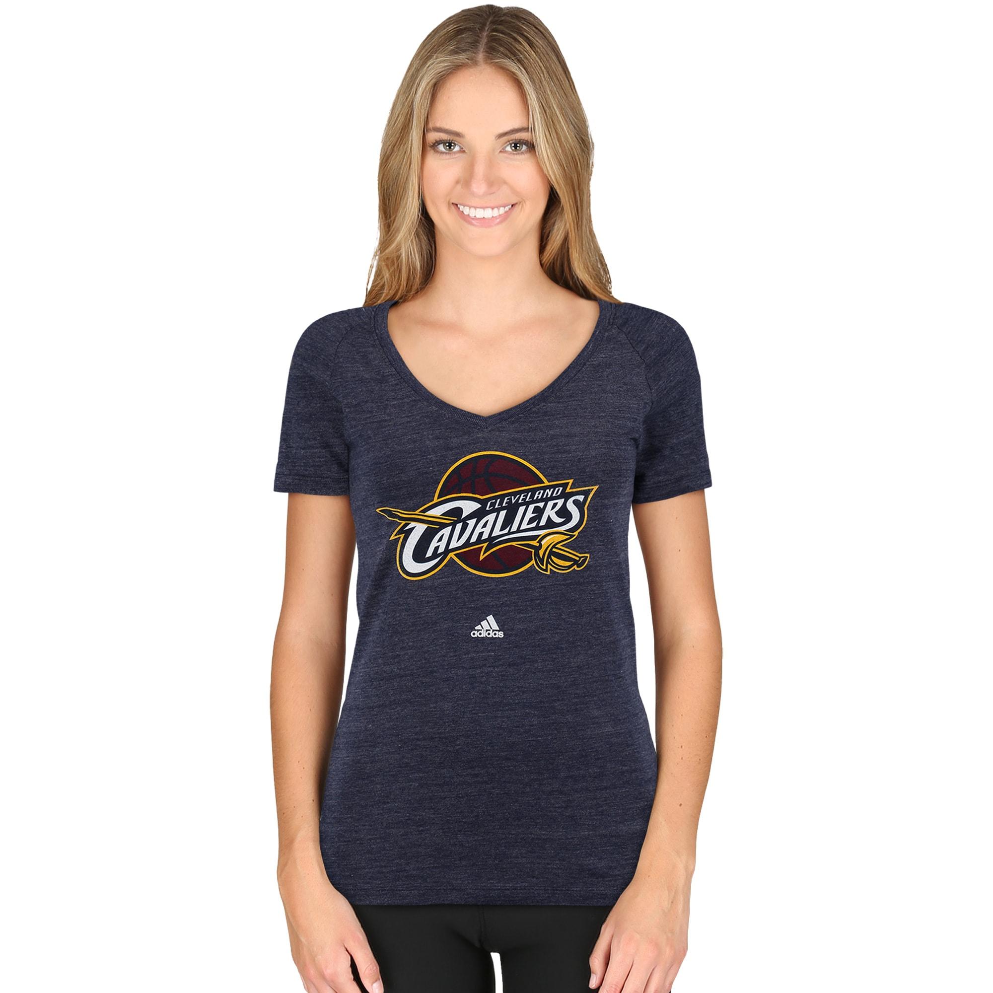 Cleveland Cavaliers adidas Women's Primary Logo Tri-Blend V-Neck T-Shirt - Navy Blue