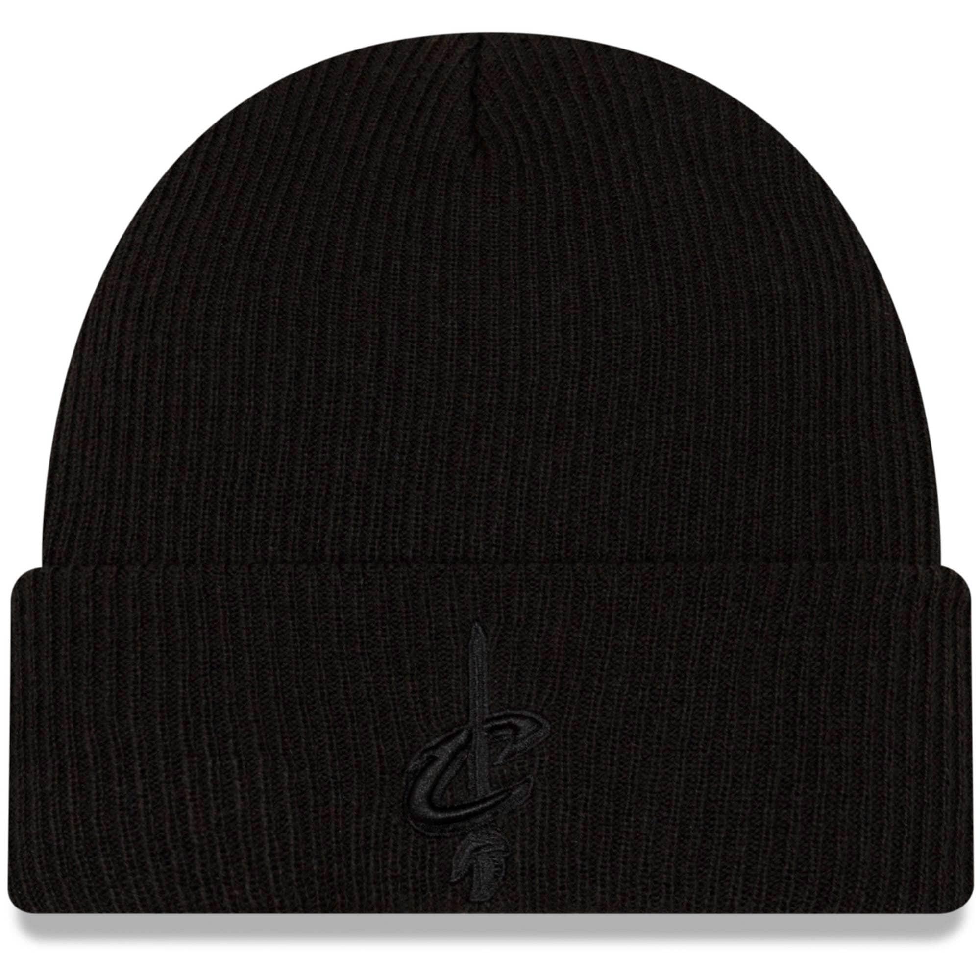 Cleveland Cavaliers New Era Blackout Cuffed Knit Hat - Black