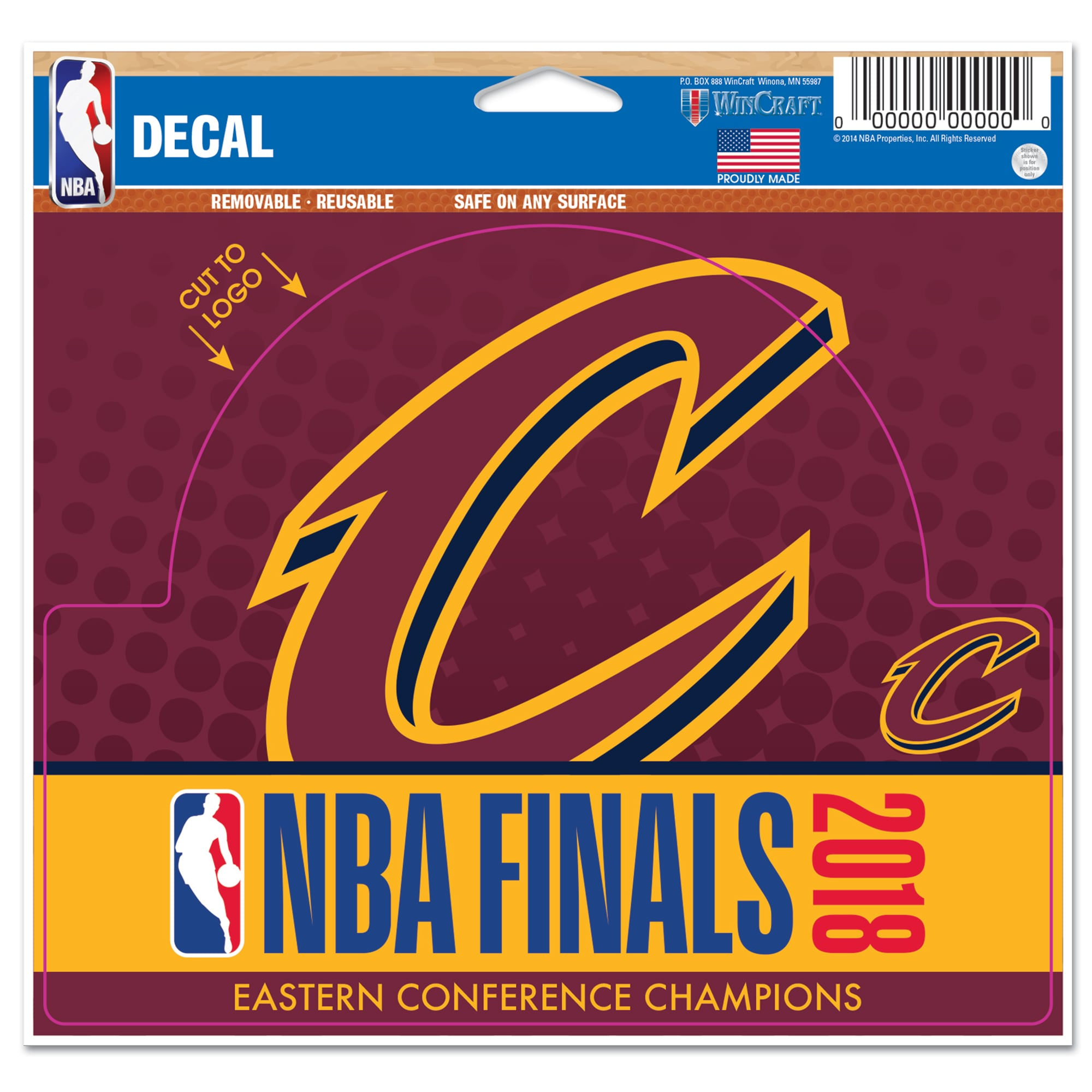 """Cleveland Cavaliers WinCraft 2018 Eastern Conference Champions 5"""" x 6"""" Cut To Logo Multi-Use Decal"""