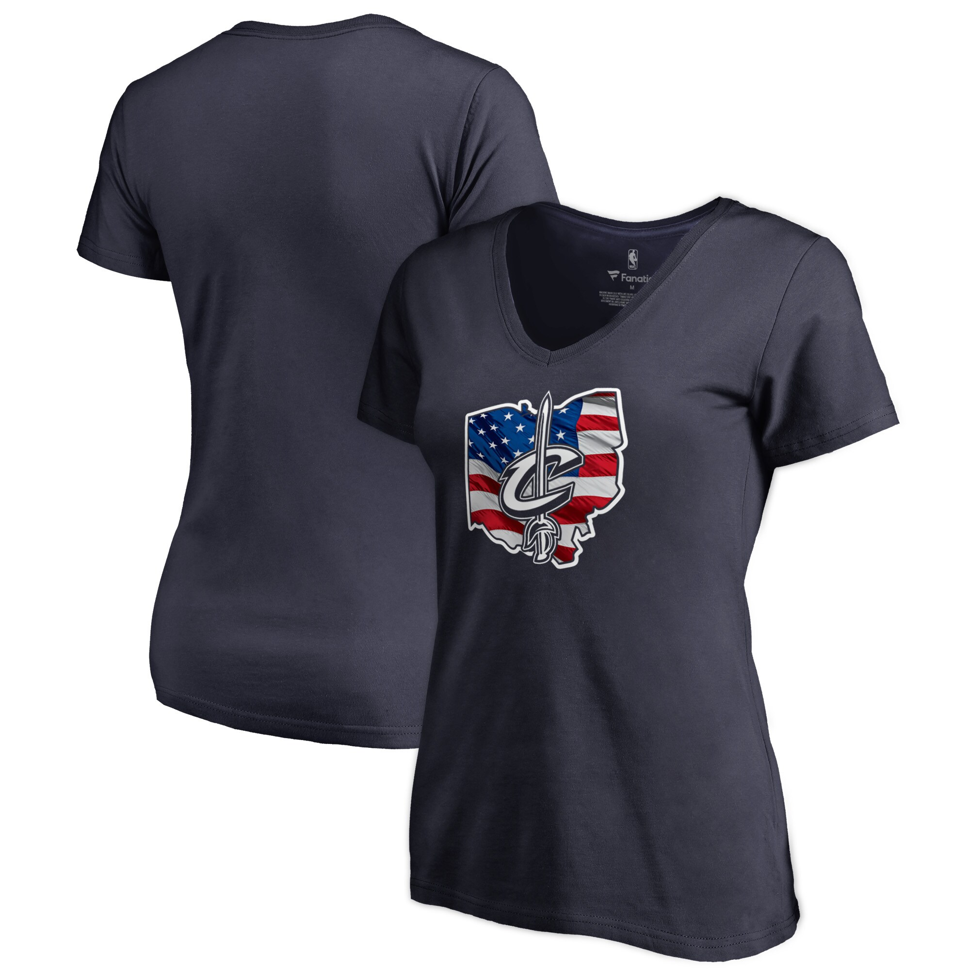 Cleveland Cavaliers Fanatics Branded Women's Banner State V-Neck T-Shirt - Navy